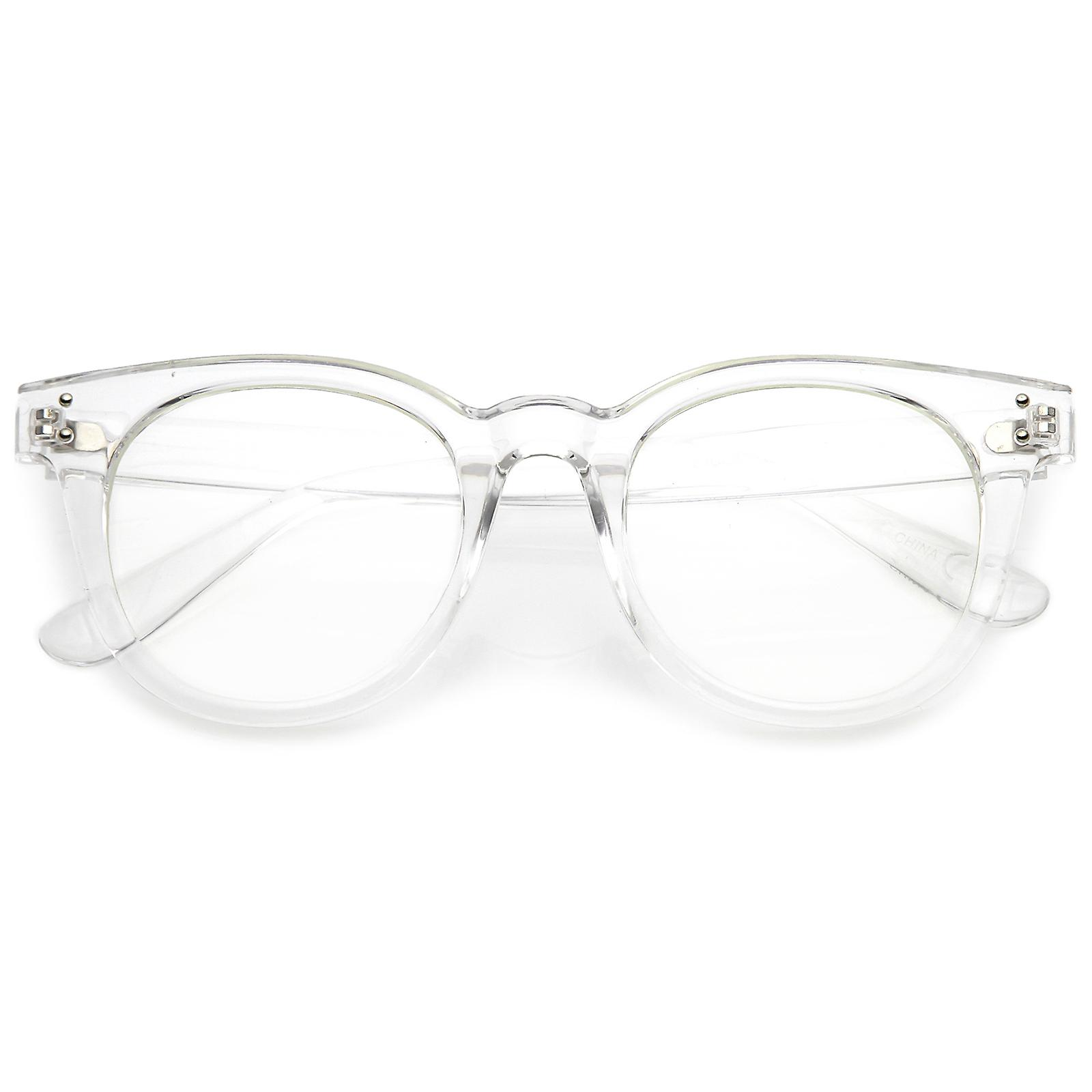 a7839087df8 Classic Horn Rimmed Eyeglasses With Rivet Accent Wide Arms Clear Lens 48mm