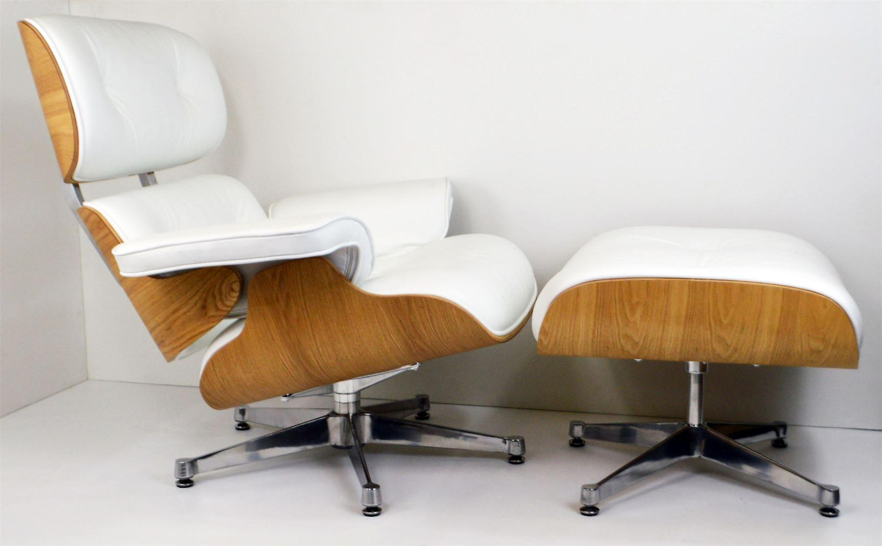 charles eames lounge chair ottoman genuine white leather with