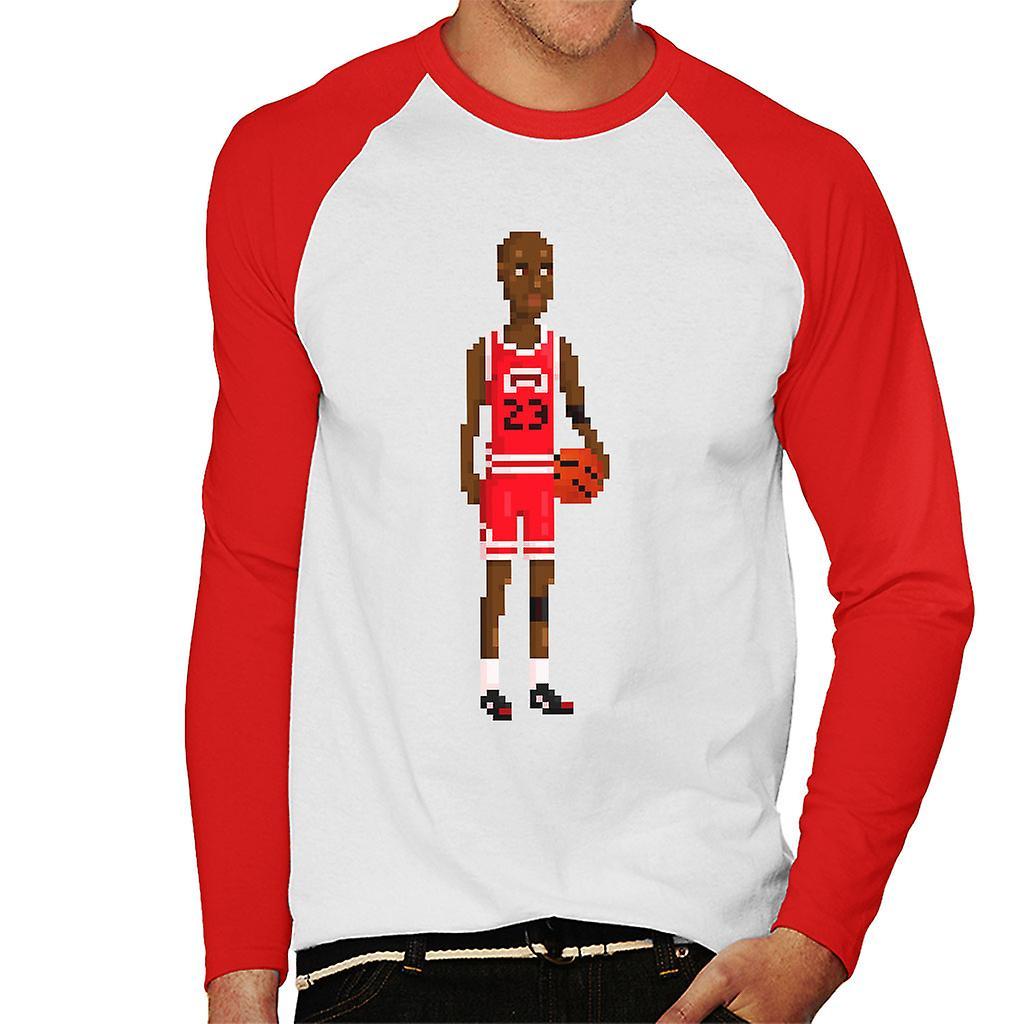 Michael Jordan Body Pixel Men s Baseball Long Sleeved T-Shirt  bb034b6e9