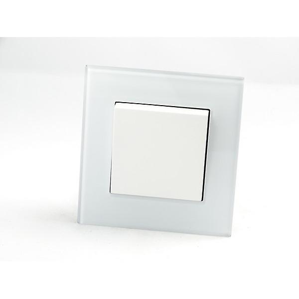 Rocker Light Switch >> I Lumos As Luxury White Crystal Glass Single Frame 1 Gang 1 Way Rocker Light Switches