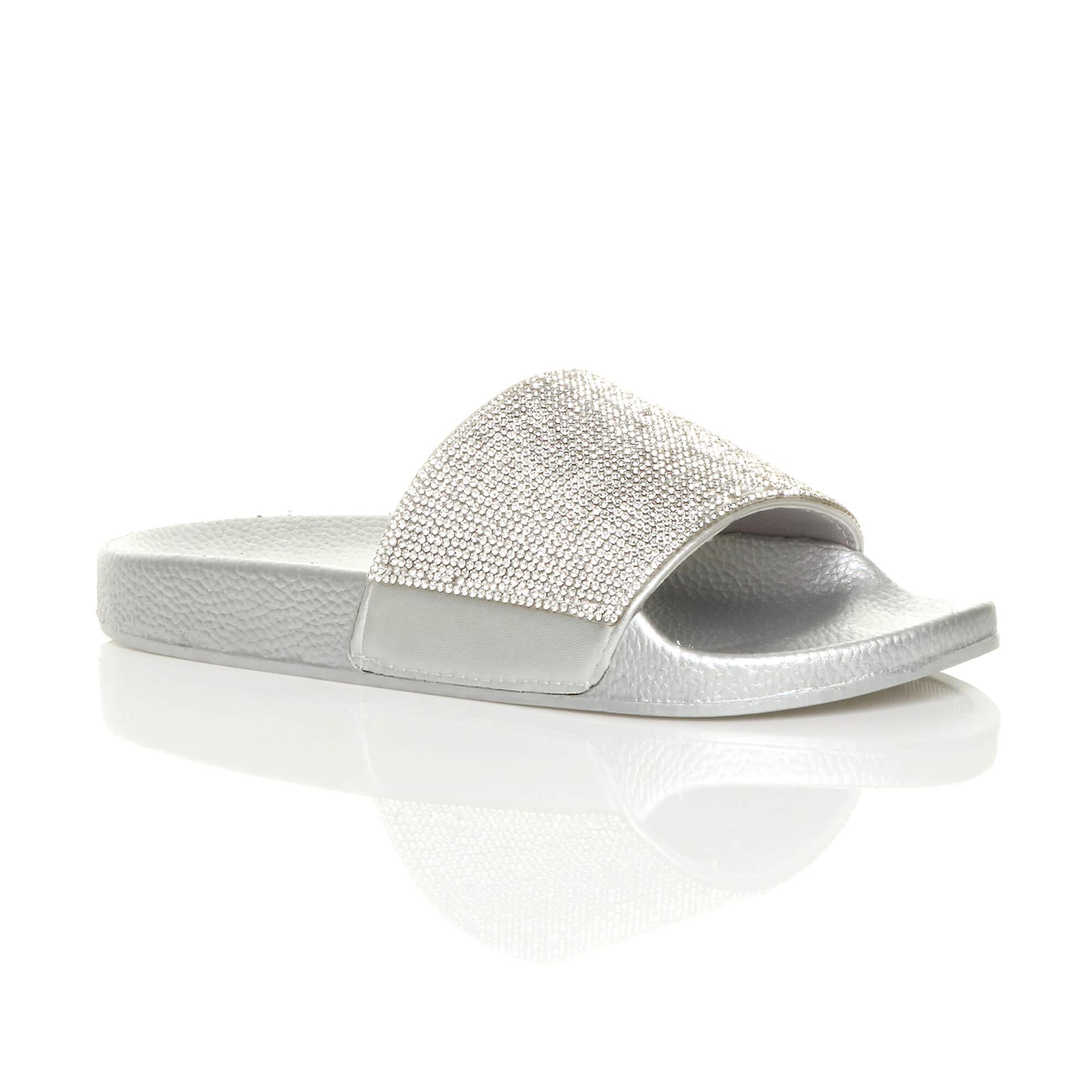 81c793fddcc45 Ajvani womens flat sliders slip on diamante mule sparkly sandals flip flops  slippers