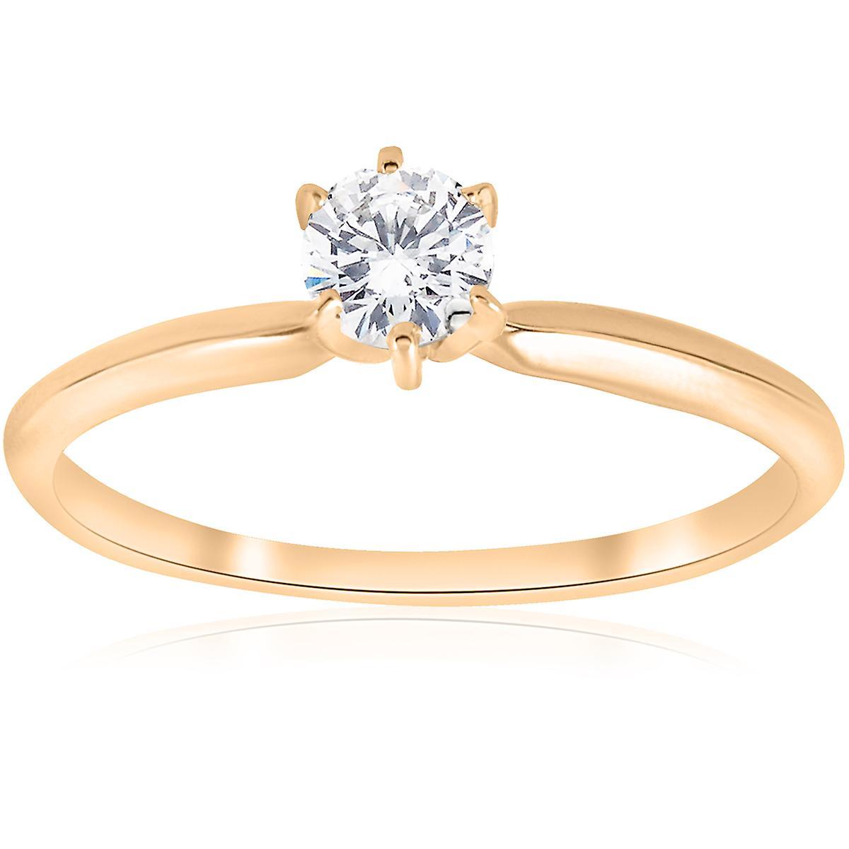 Złota 15 Ct Okrągły Diament Pierścionek Zaręczynowy Z Akwamarynem