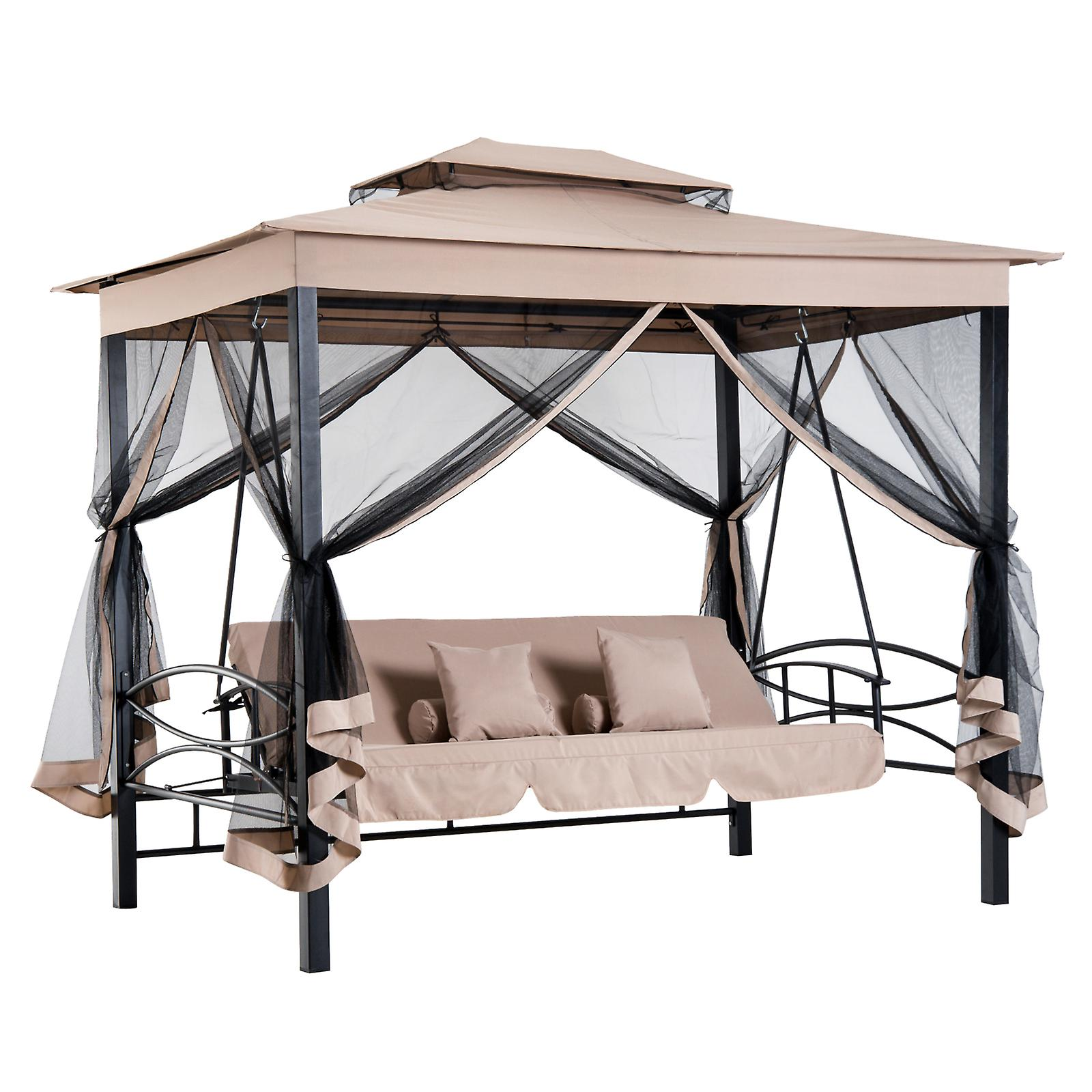 Outsunny 3 Seater Swing Chair Hammock Gazebo Patio Bench Cushioned