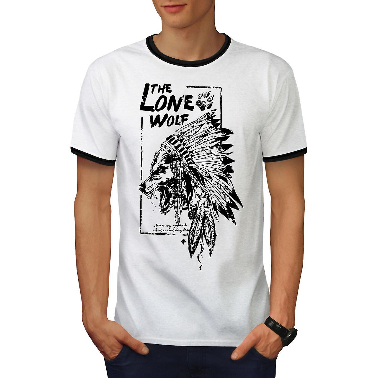 ff2266cef The Lone Wolf Indian Men White / BlackRinger T-shirt | Wellcoda | Fruugo
