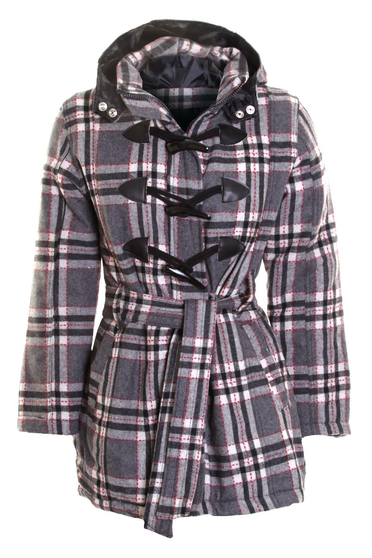 Ladies Check Hoody Hooded Coat Womens Quilted Duffle Jacket