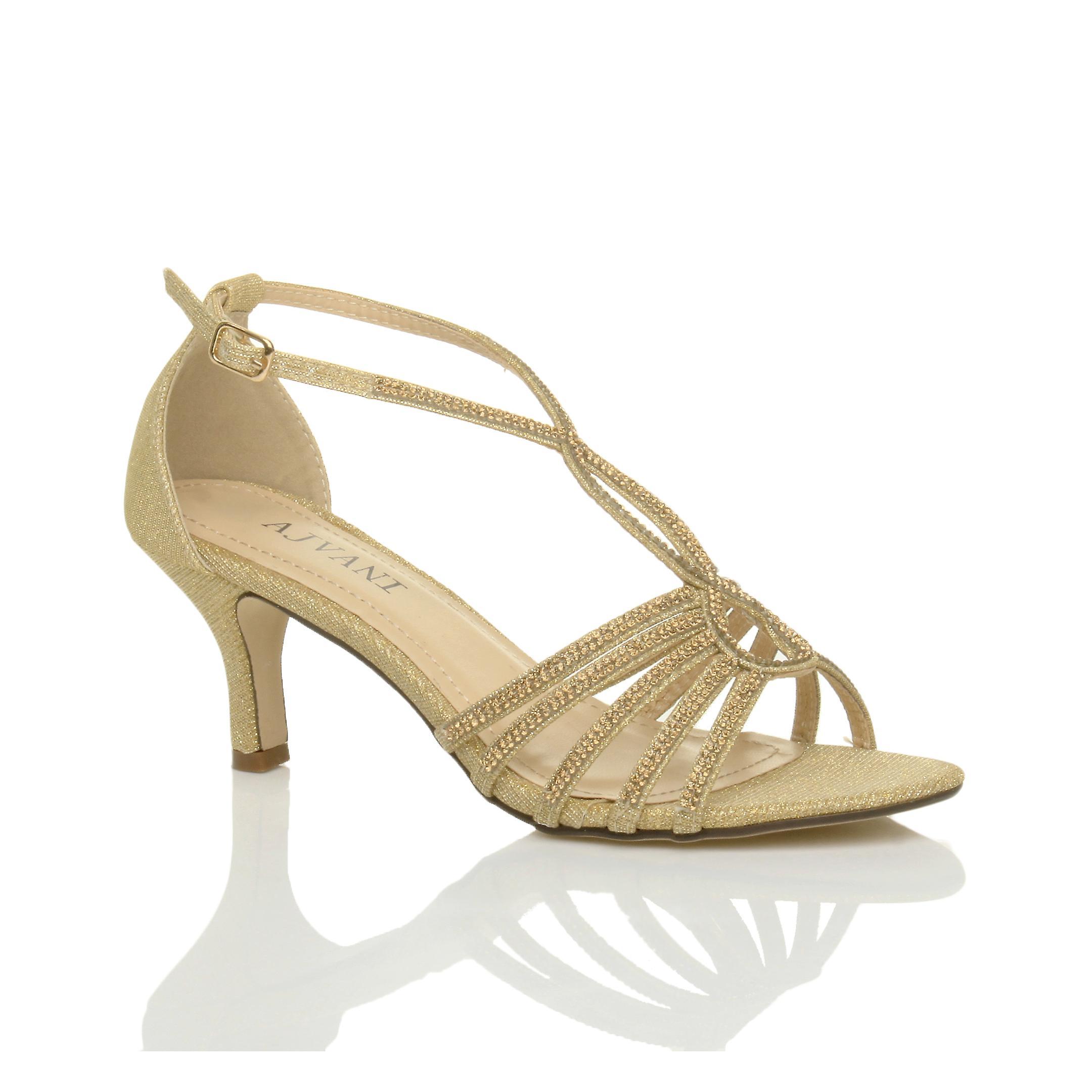 Ajvani womens mid heel strappy diamante glitter bridal wedding evening t bar sandals shoes