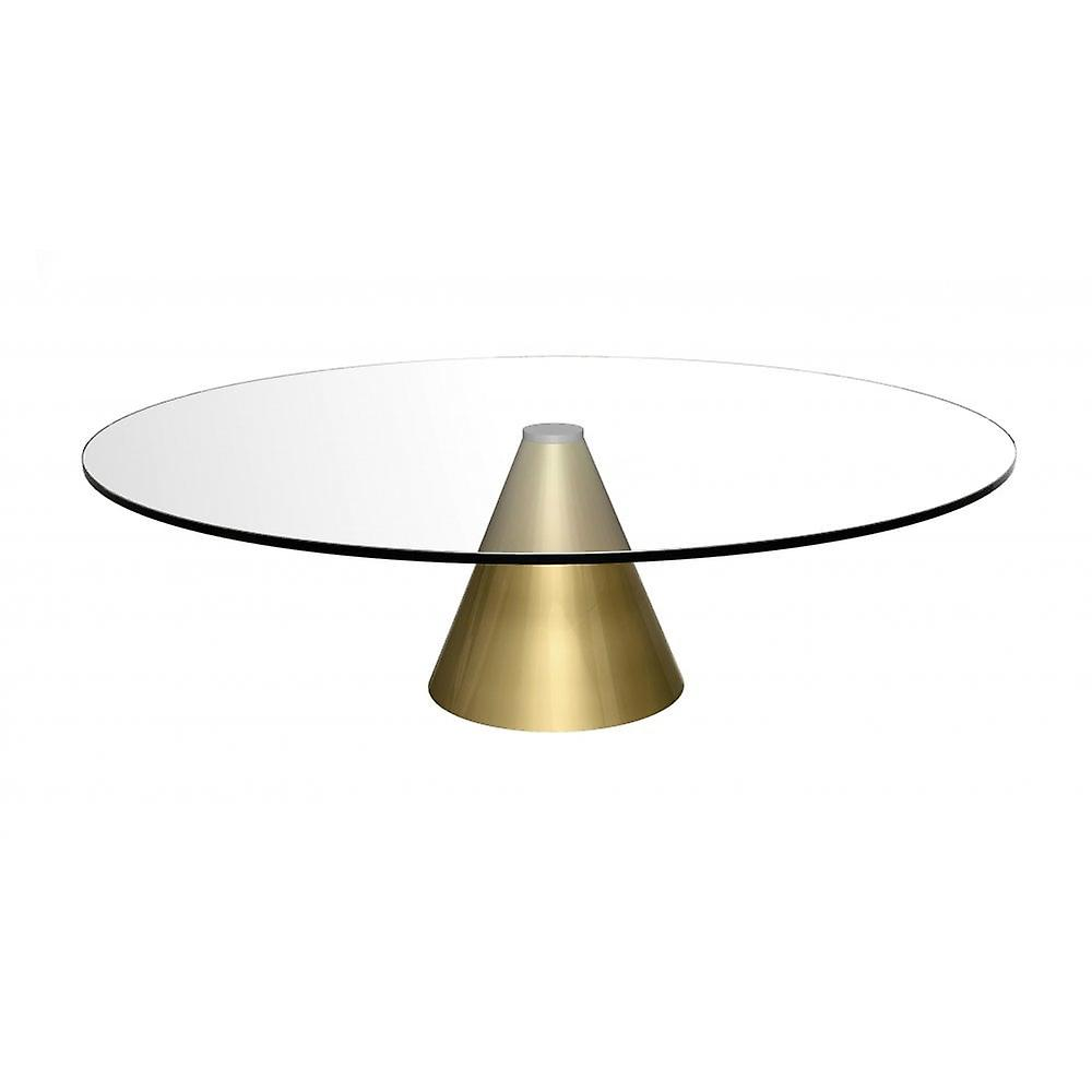 - Gillmore Round Clear Glass Coffee Table With Conical Brass Base