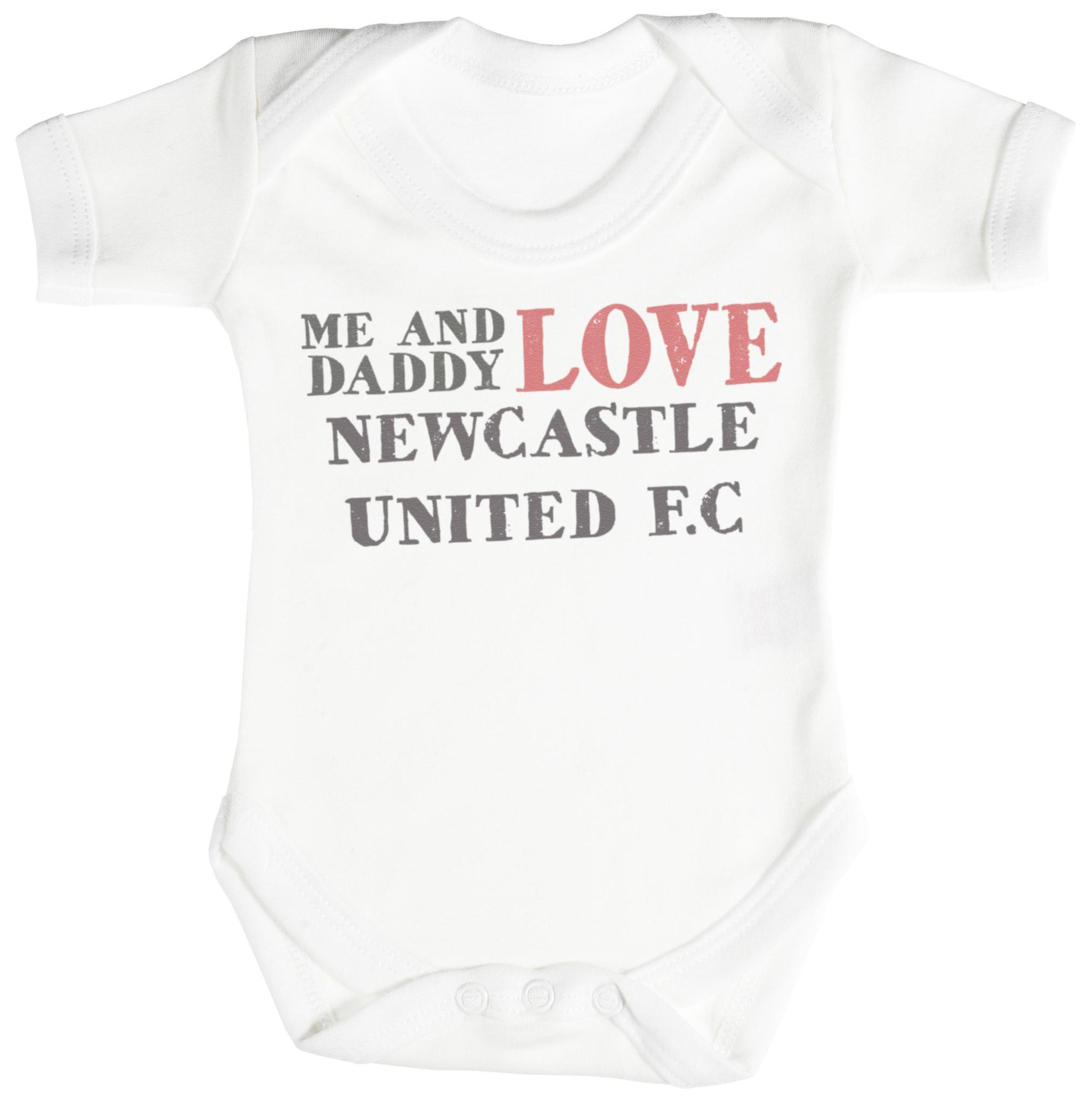 Me & Daddy Text Love Newcastle United Baby Bodysuit Babygrow