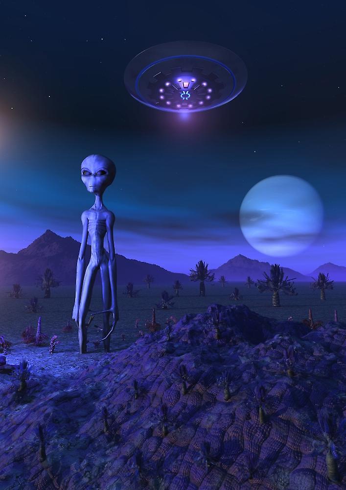 A Grey alien located on its homeworld of Zeta Reticuli Poster Print