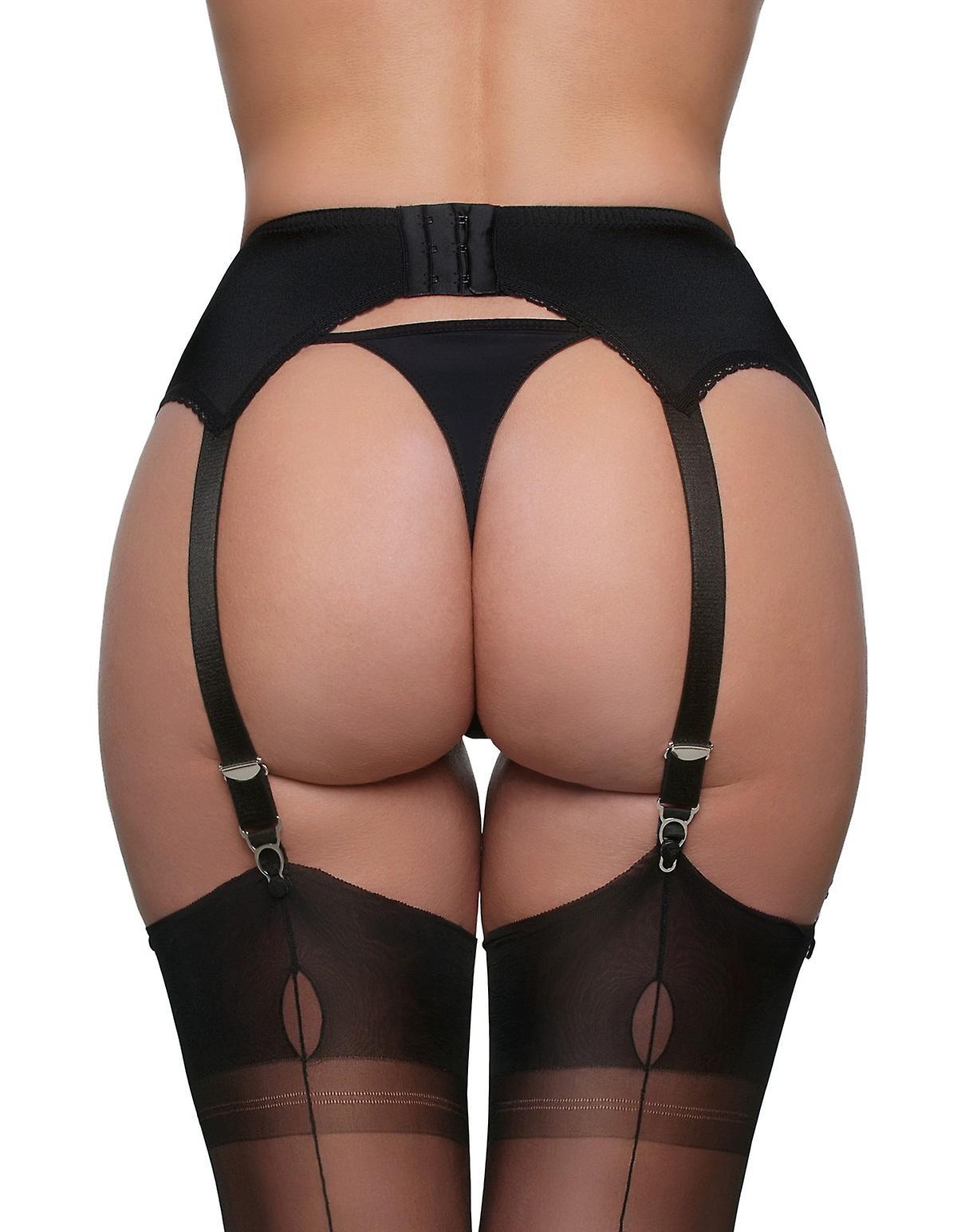 cdf6ea462 Nylon Dreams NDL8 Women s Black Solid Colour Lace Garter Belt 6 Strap  Suspender Belt