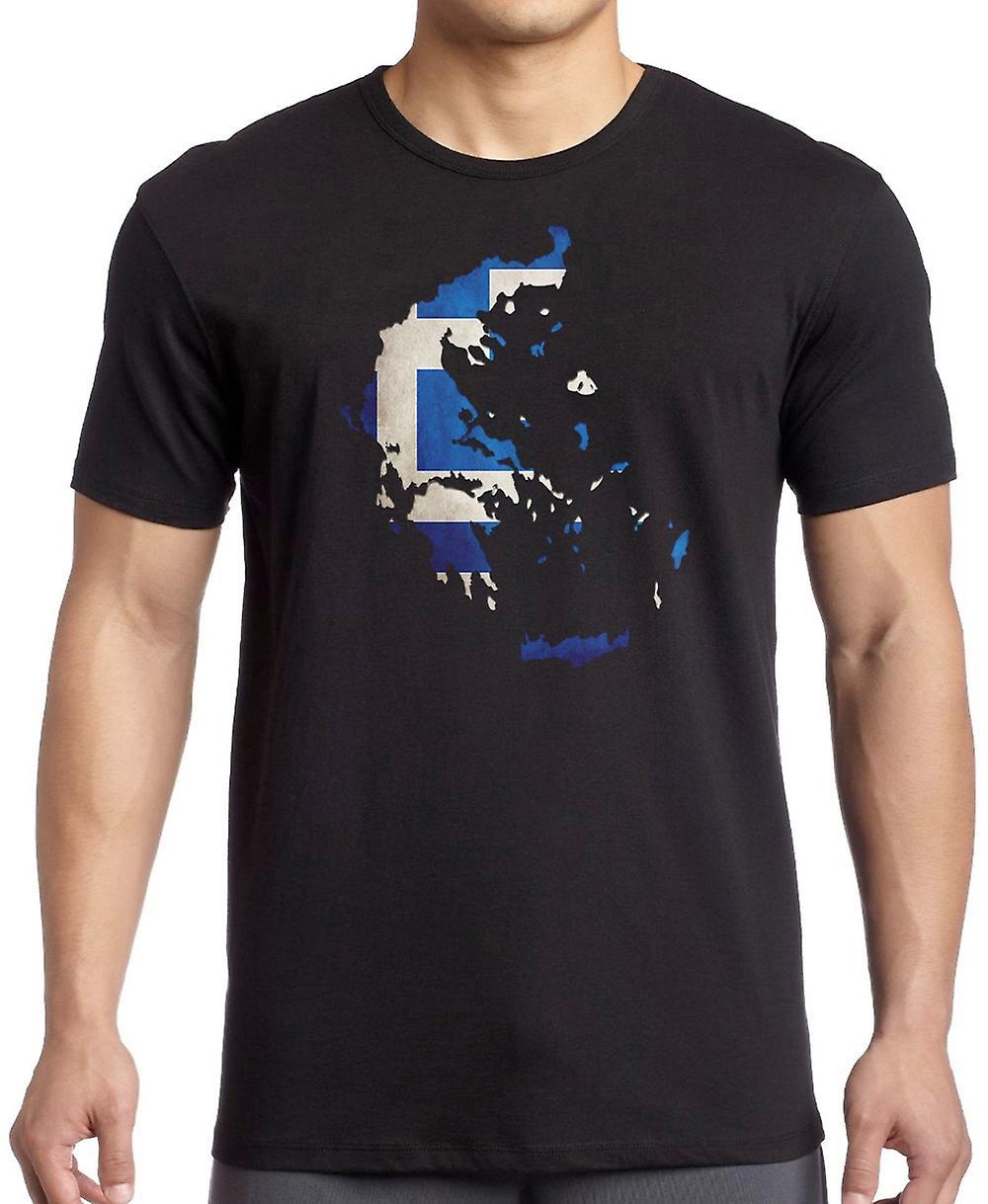 Griechenland Griechische Flagge Karte T-Shirt   Fruugo 13a13e9eb8