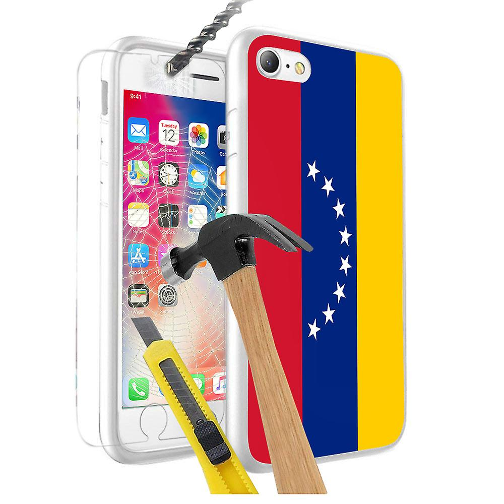 For Samsung Galaxy J3 2017 - Venezuela Flag Design Printed White Case Skin  Cover with Tempered Glass - 0193 by i-Tronixs