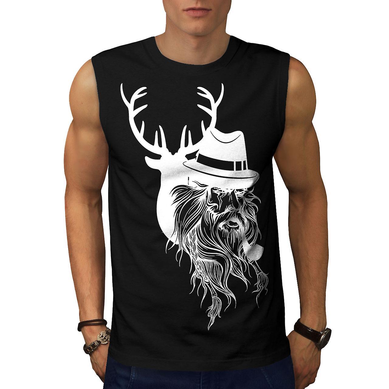 deer human wild fantasy men black sleeveless t shirt wellcoda fruugo. Black Bedroom Furniture Sets. Home Design Ideas