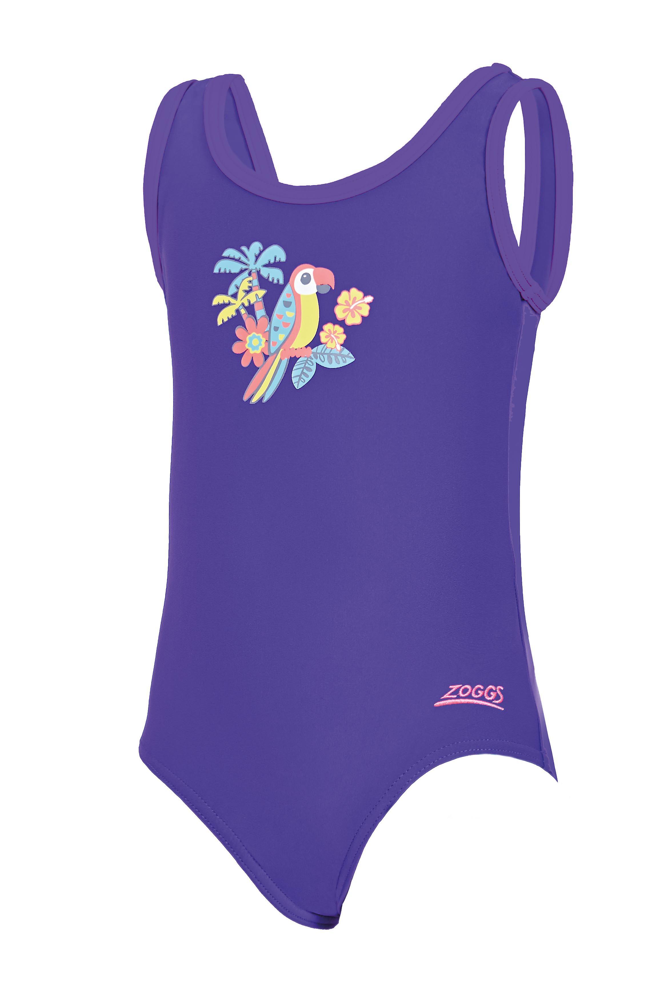 5a3c9133abd940 Zoggs meisjes Jungle leuk Scoopback badpak Purple voor 6 tot 16 jaar oud