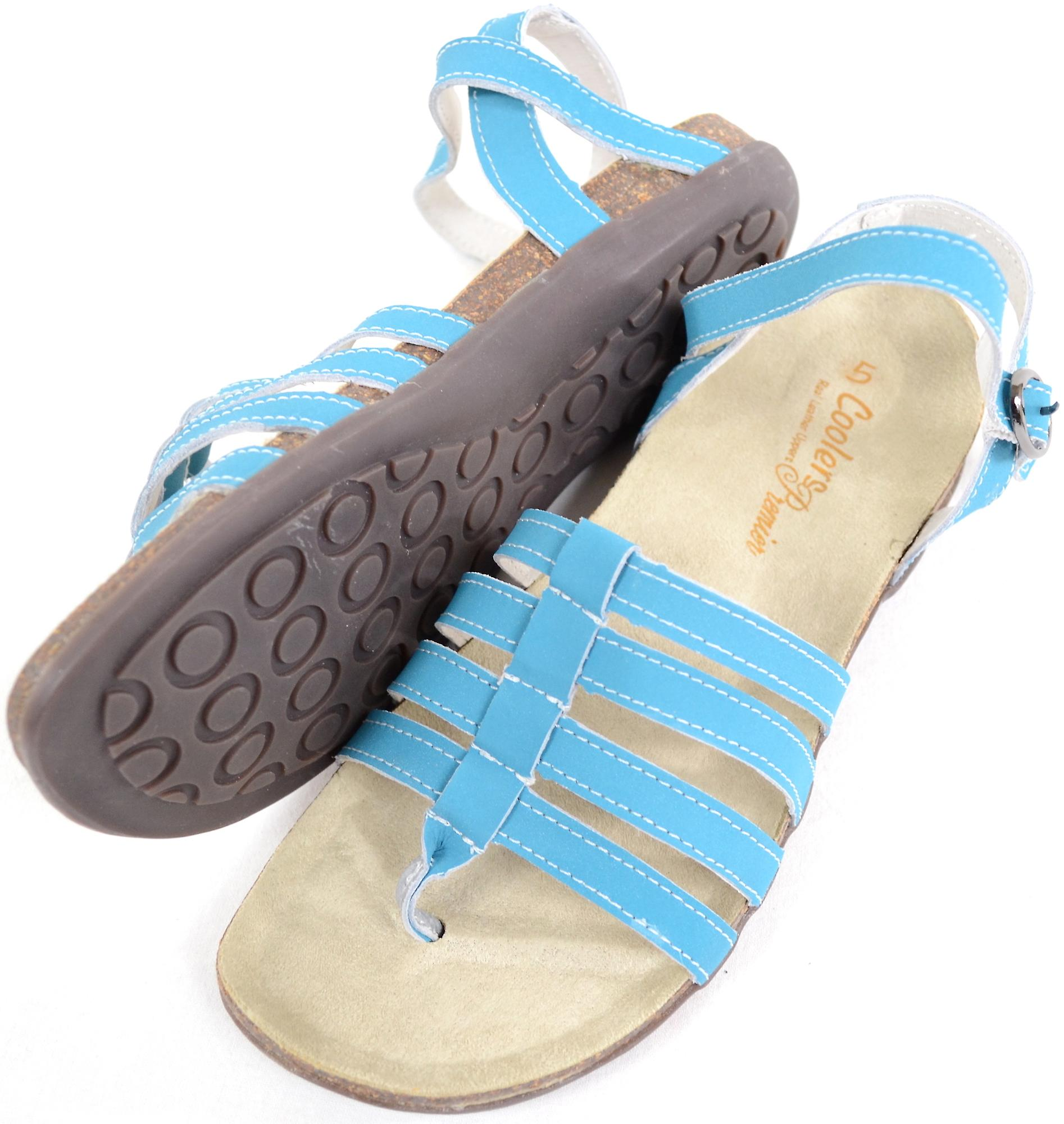 0b532c772 Ladies   Womens Leather Summer   Holiday   Beach Strapped Sandals   Shoe -  Turquoise -