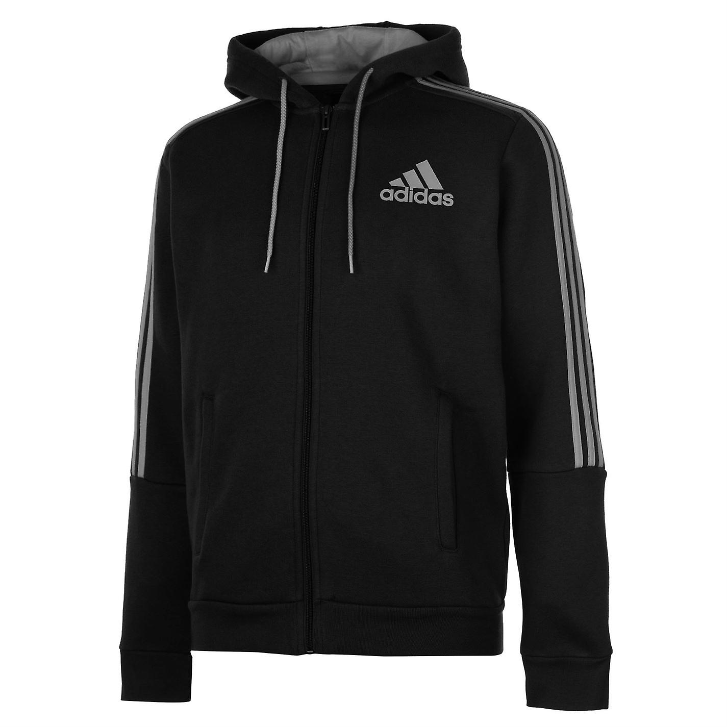adidas Mens 3 Stripes Hooded Track Jacket Top Full Zip Front