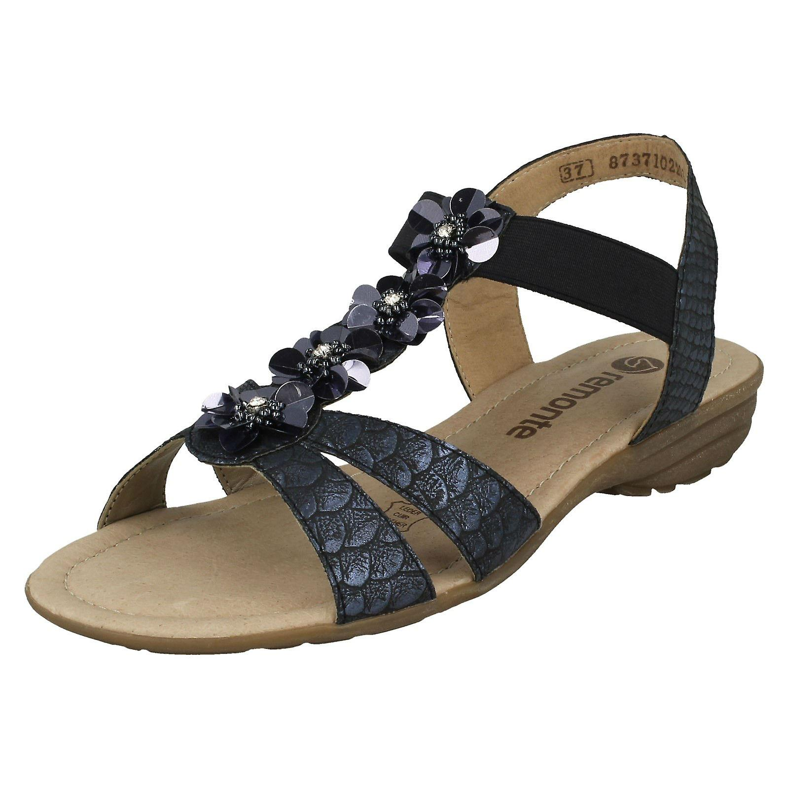 Ladies Flower Detailed 14 Sandals Synthetic Remonte R3633 Blue OPXikuTZ