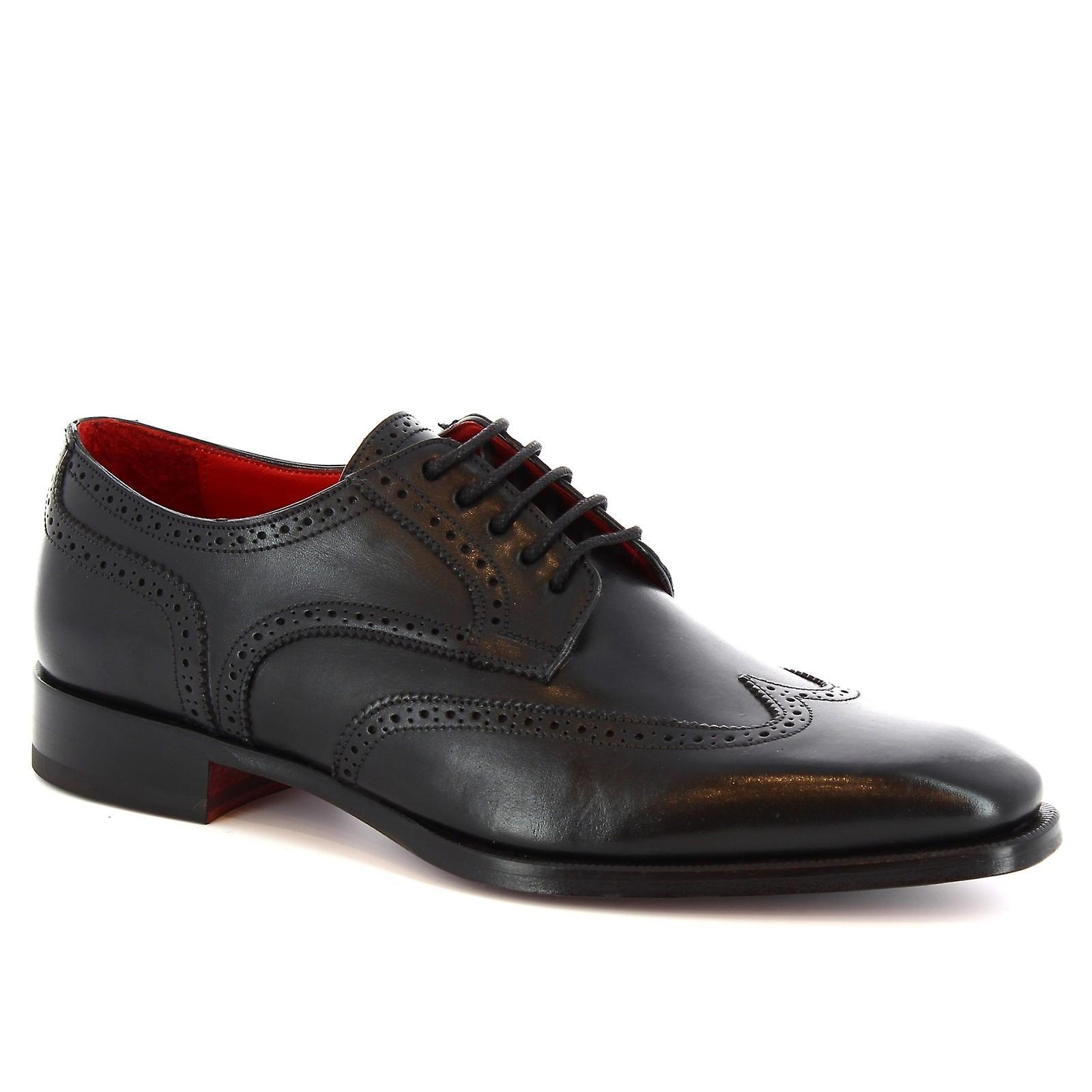 Leonardo Shoes Men's handmade Wingtip Oxford Brogues in black calf leather