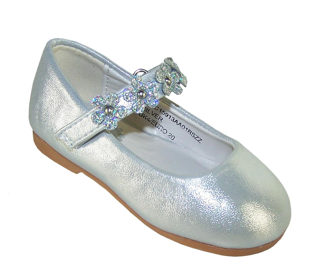 f5ee93f88f5b Infant girls silver occasion shoes with sparkly flowers