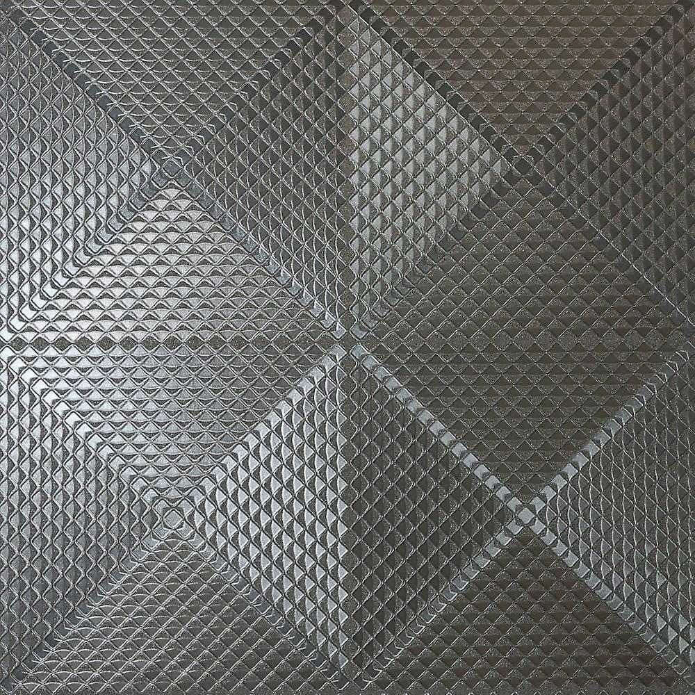 Arthouse Geo Gunmetal Metallic Folie Strukturierte Quadrate Muster 3D Effekt Illusion Wallpaper