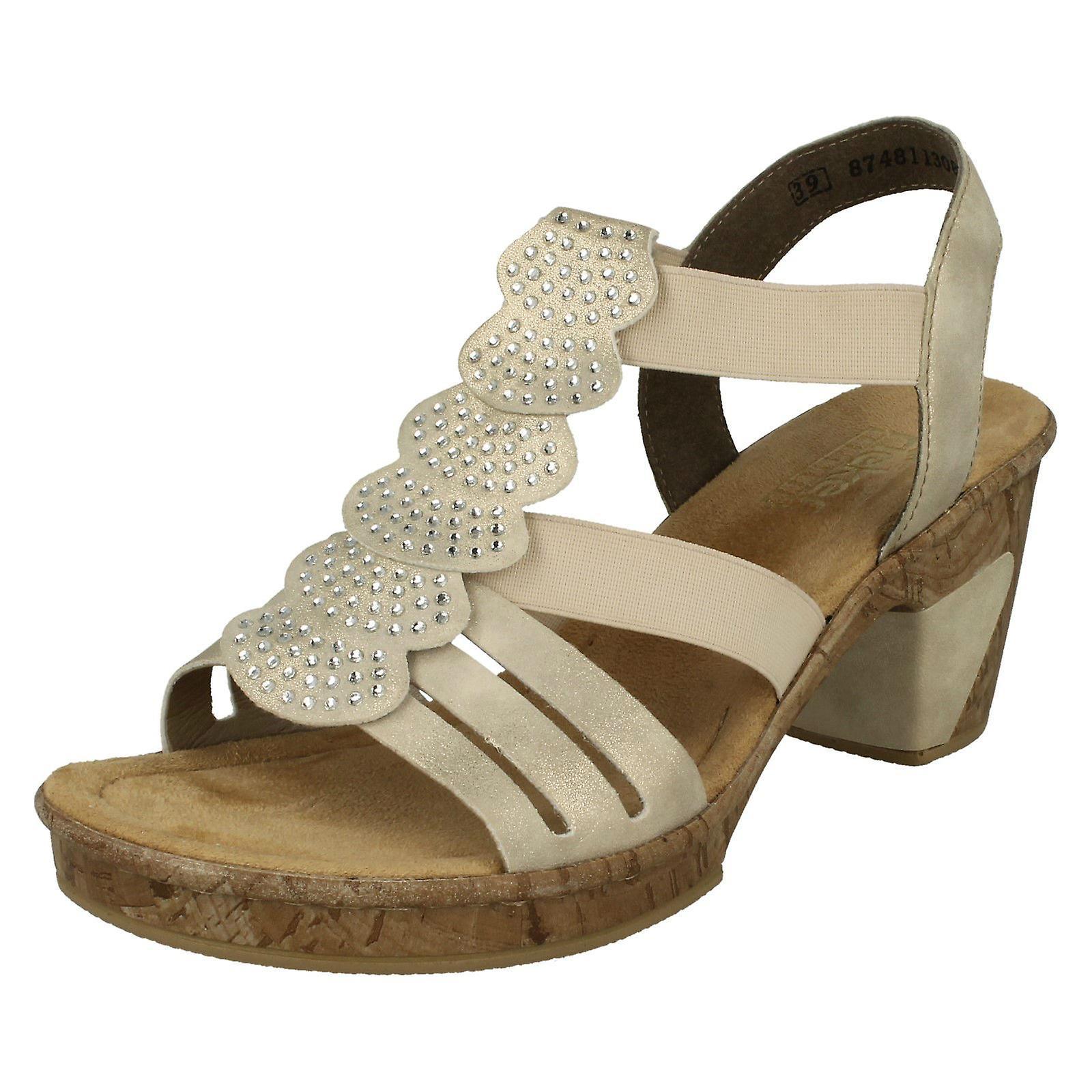 6d39b65a58f84 Ladies Rieker Slingback Heeled Sandals 69702-60 - Beige Synthetic - UK Size  3.5 -