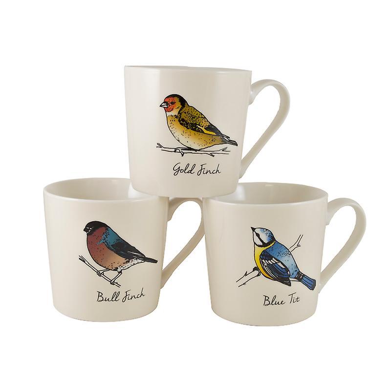 Engels Servies Te Koop.Engels Servies Co Britse Vogels Set Van 3 Mokken Creme