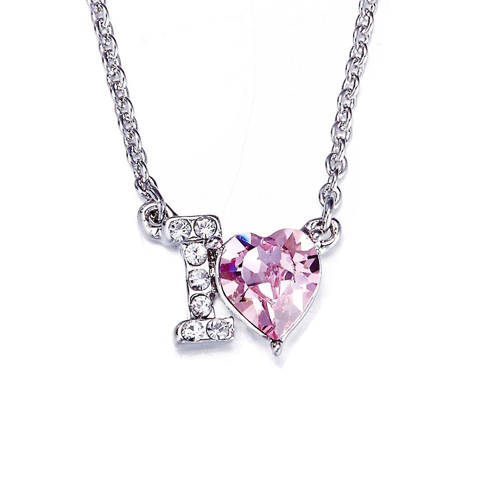 dernier style luxuriant dans la conception le magasin Collier Coeur I love You orné de cristaux de Swarovski Rose