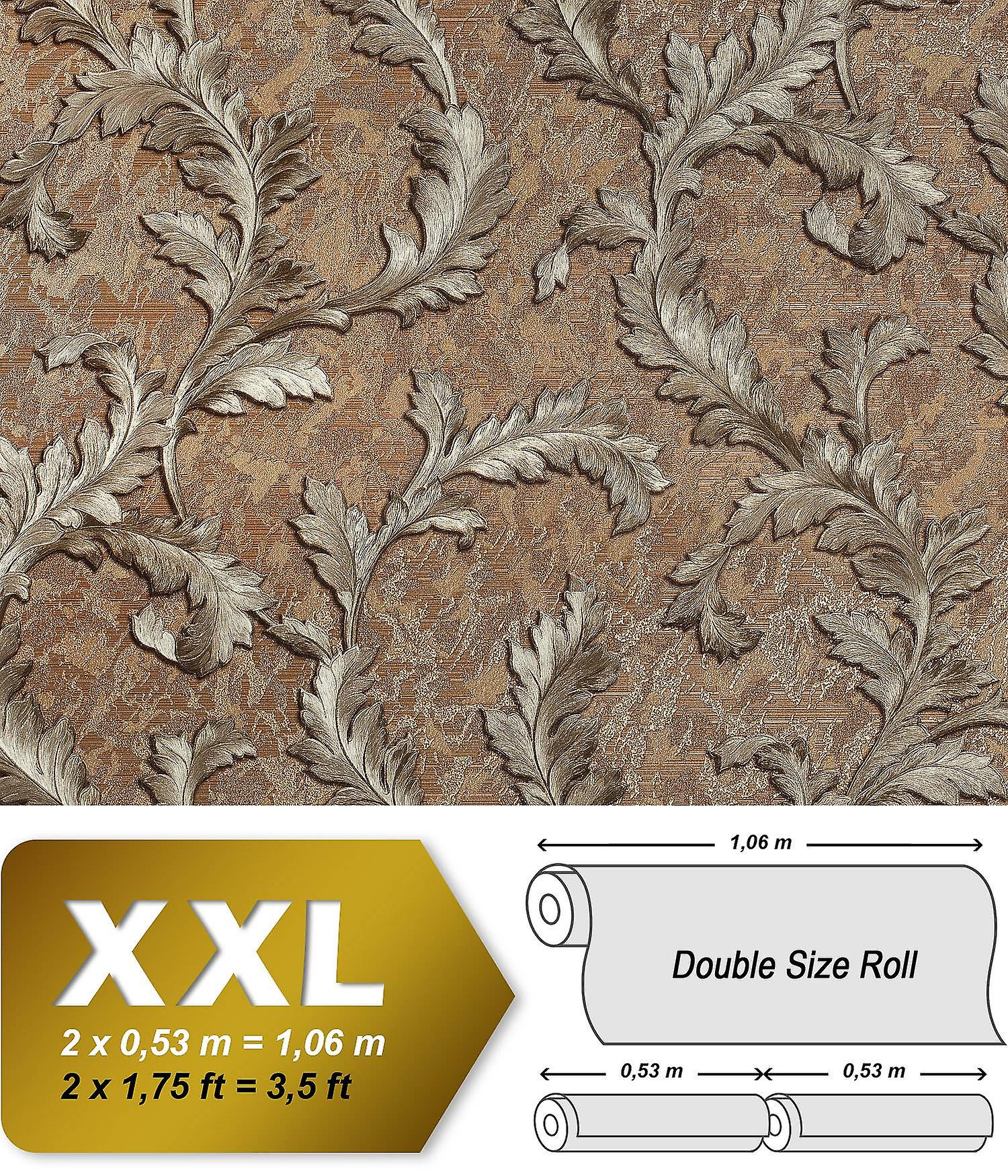 Flowers Wallpaper EDEM 9010 35 Non Woven Shaped Baroque Style Shiny Brown