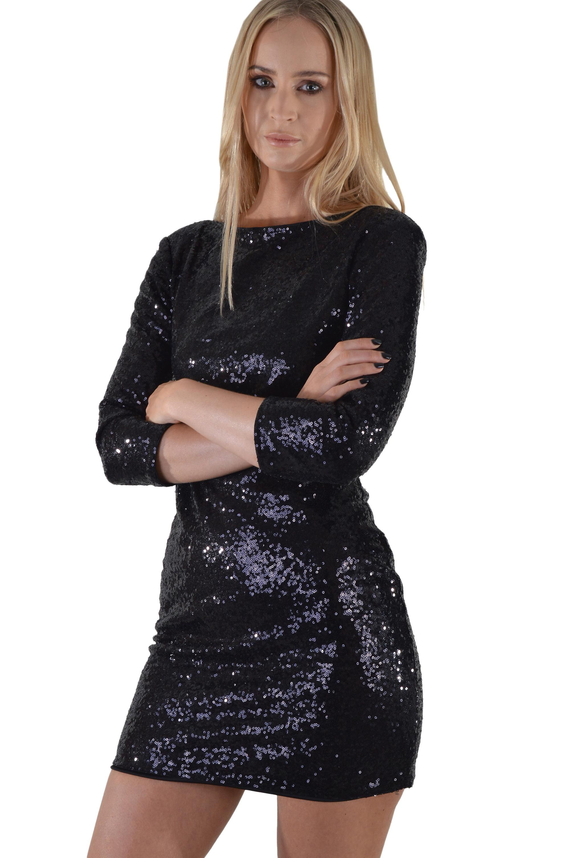 c5e76f5c622 LMS langermet svart Sequin kjole med styrter tilbake | Fruugo