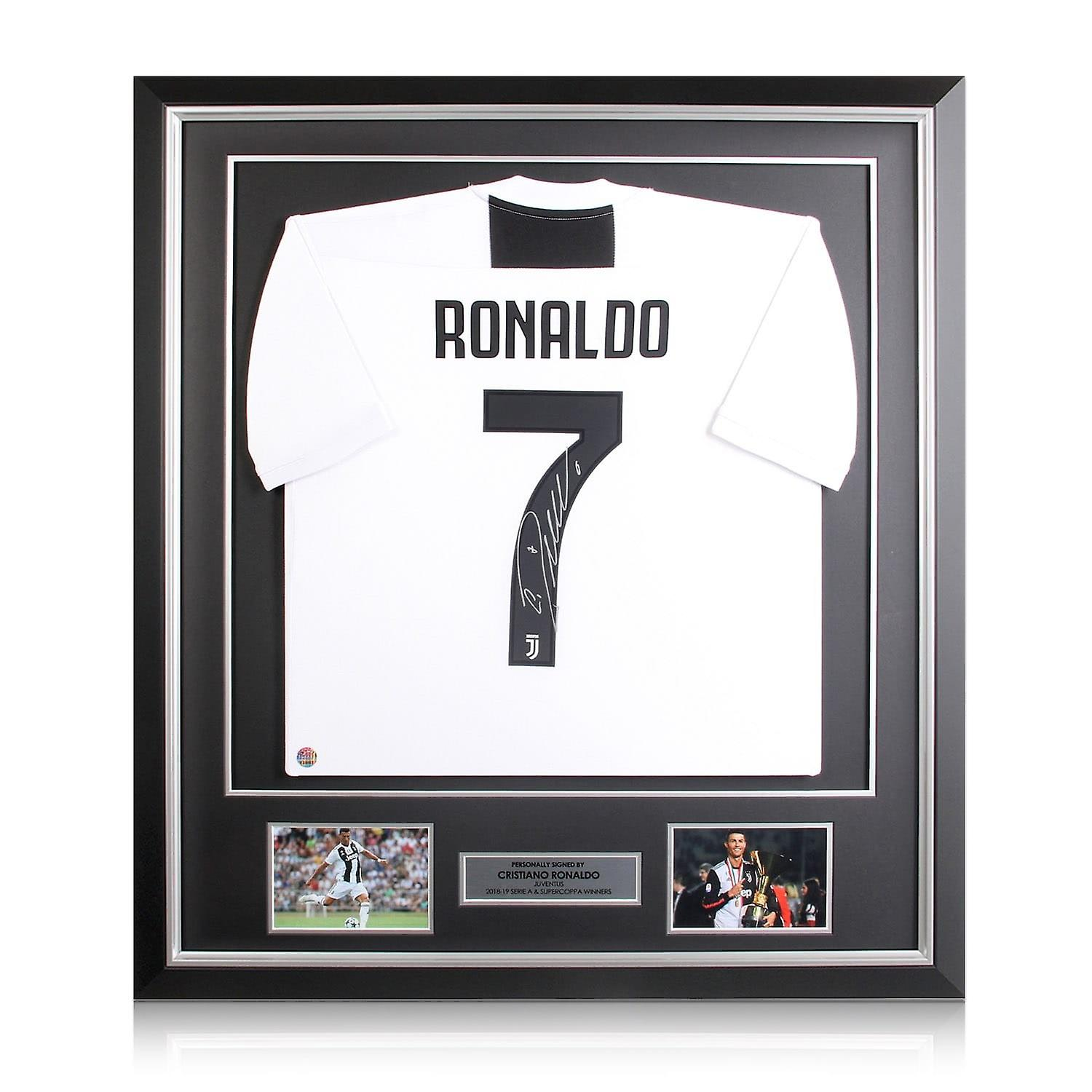 finest selection 23107 12abc Cristiano Ronaldo Signed Juventus Football Shirt In Deluxe Black Frame With  Silver Inlay
