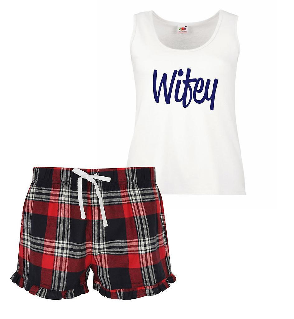 Wifey Ladies Tartan Frill Short Pyjama Set Red Blue or Green Blue