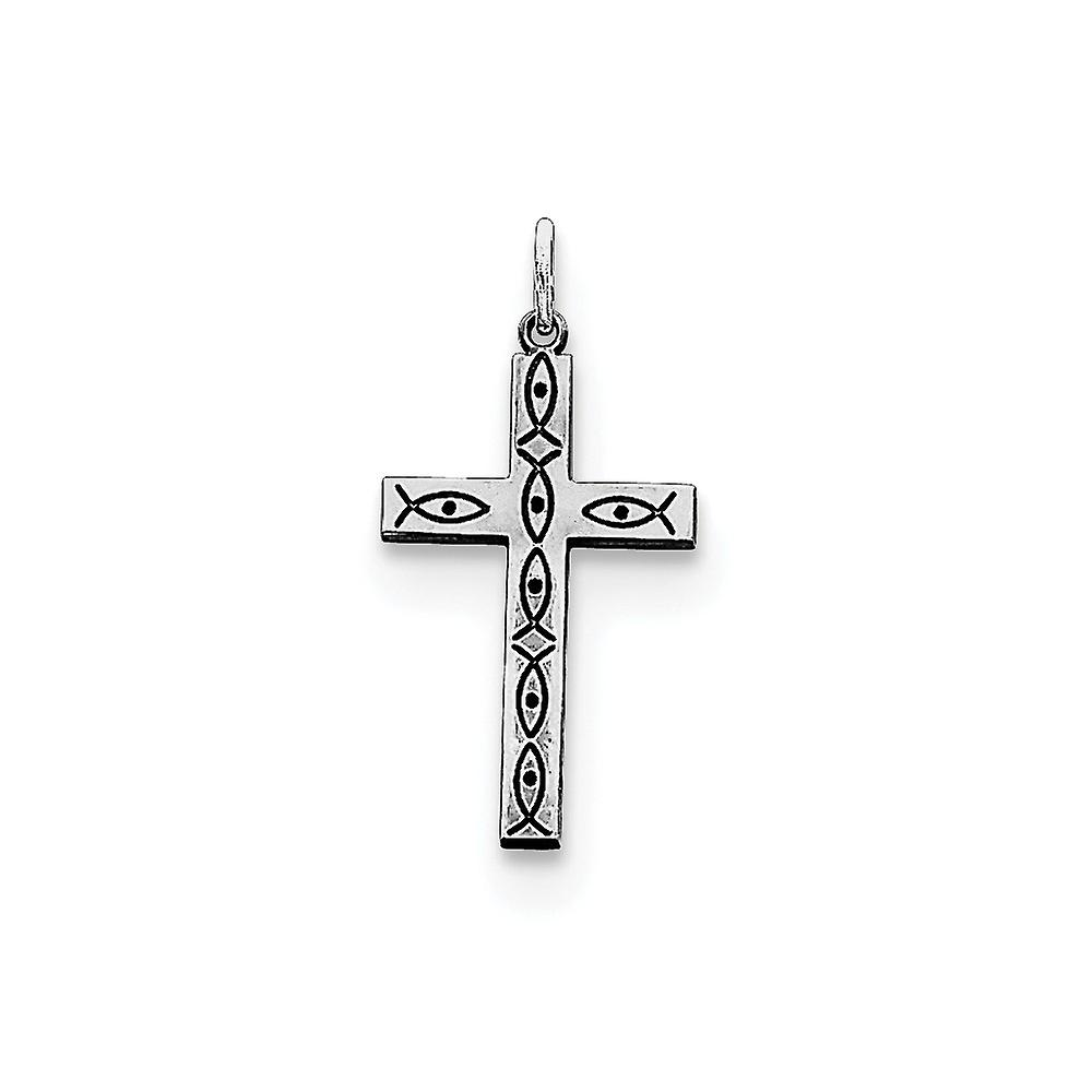 925 Sterling Silver Polished Cross With Heart Necklace
