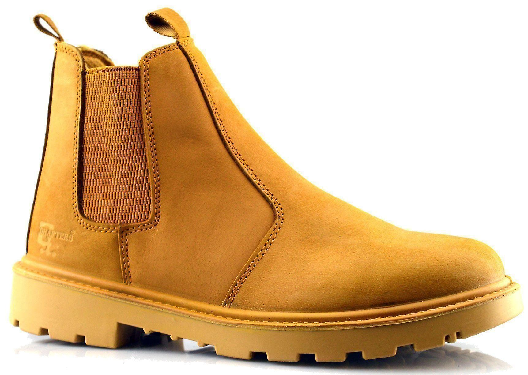 0c47cdfedf0 Mens Leather Safety Steel Chelsea Slip On Dealer Ankle Work Boots Shoes