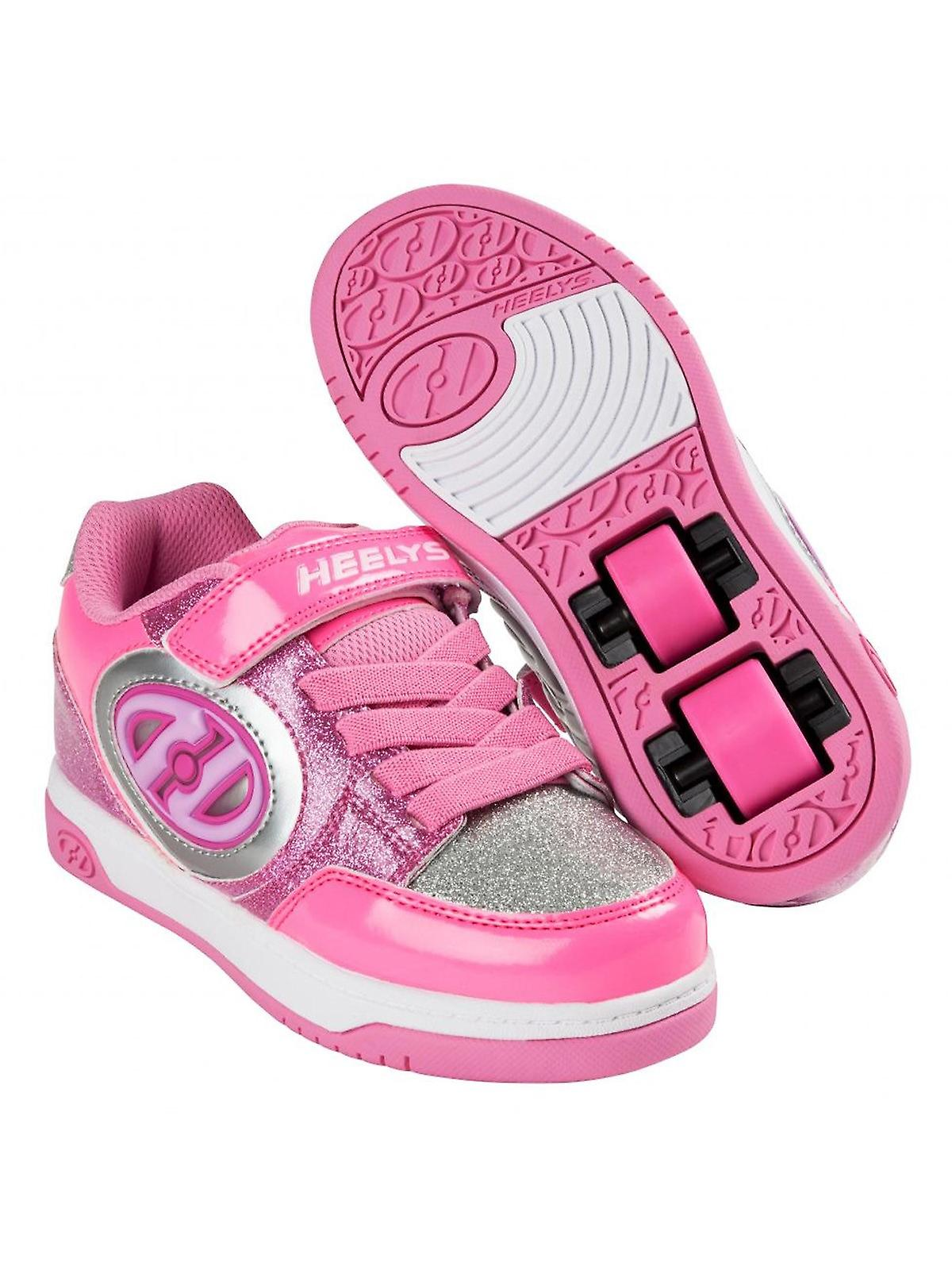 low priced 4876d d639a Heelys Neon Pink-Light Pink-Silver Plus Lighted Girls Two Wheel Shoe