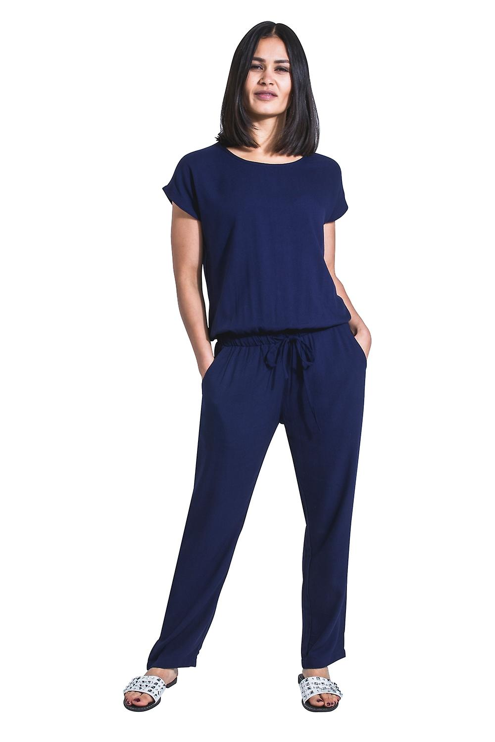 6ba3a8ae0c2 Ladies Jumpsuit with short sleeve - Blue All-in-one Playsuit