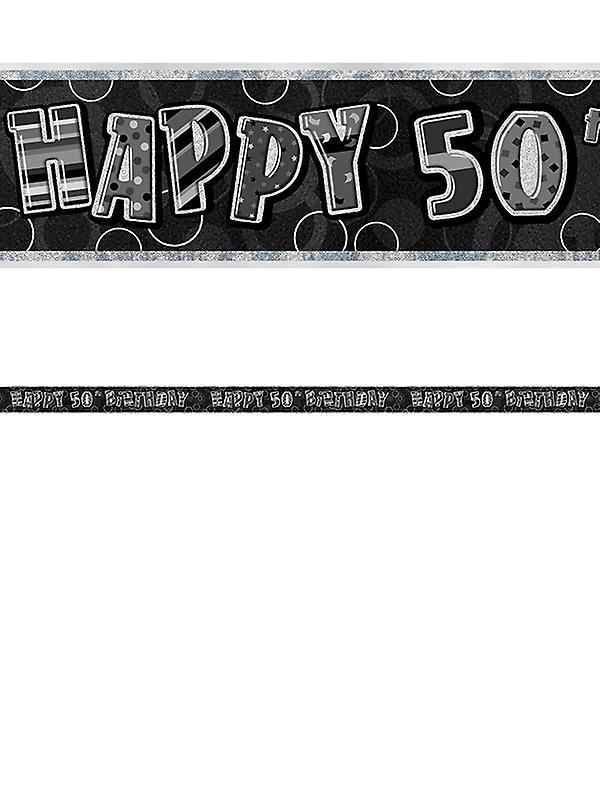 Birthday Glitz Black Silver 50th Prism Banner