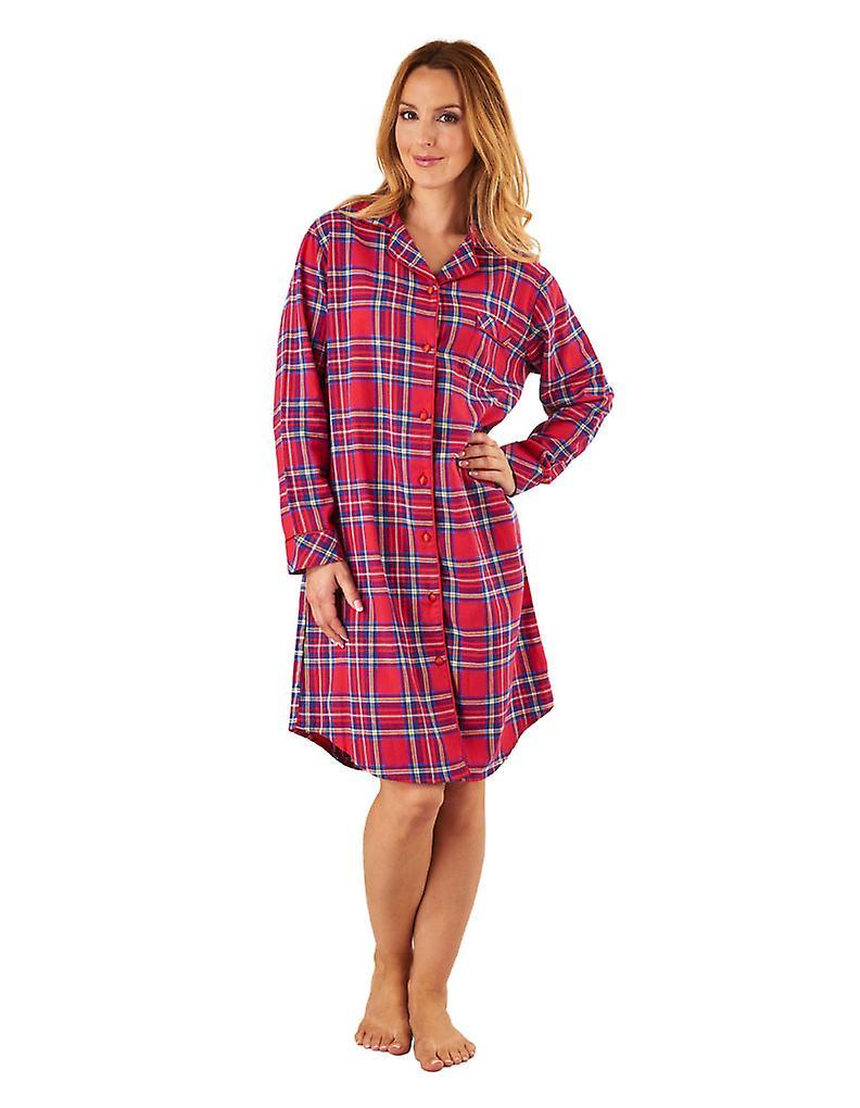 d9a7312fab Slenderella NS8230 Women s Red Tartan Cotton Sleep Shirt Long Sleeve  Nightshirt