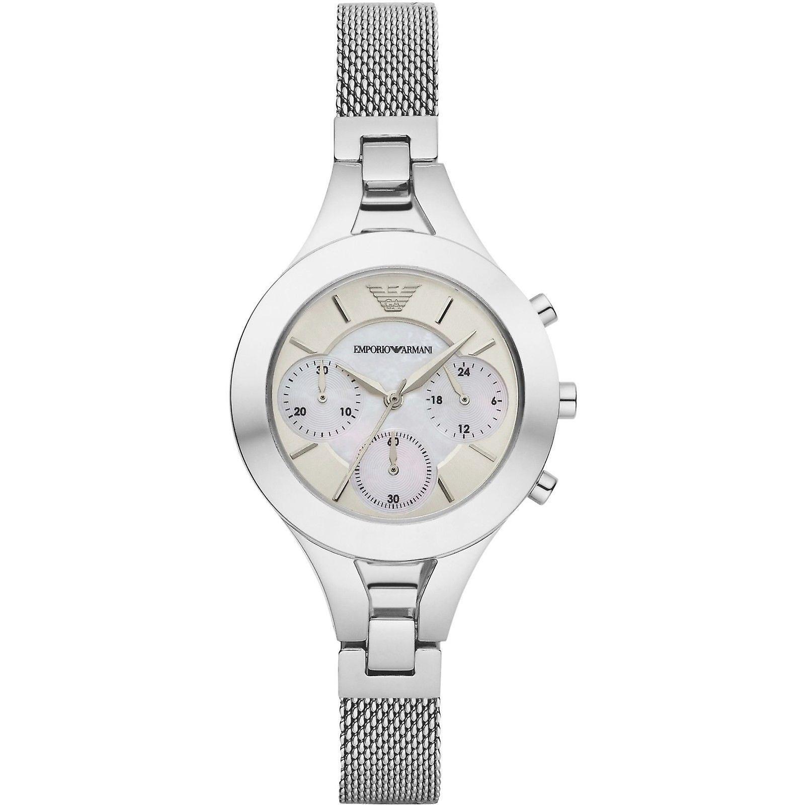 b0419171283b Emporio Armani para mujeres Señoras Cronógrafo pulsera reloj acero  inoxidable AR7389
