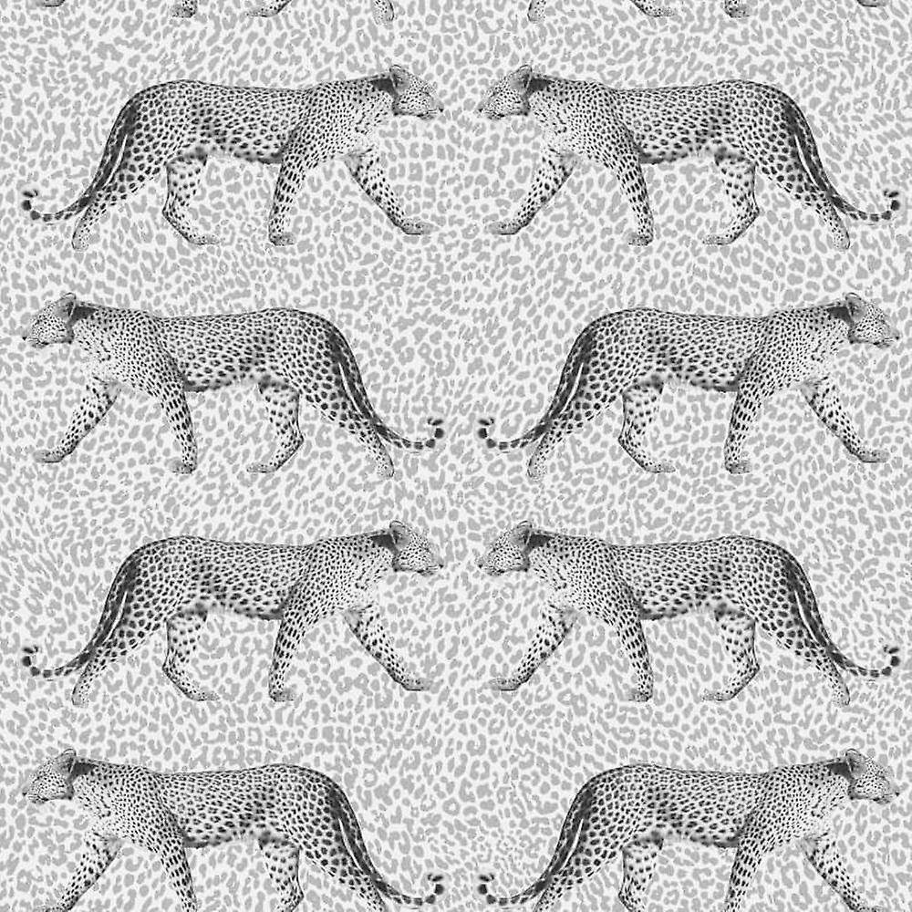 Luipaard Print Animal Wallpaper Zilveren Glitter Glans Witte Textuur Kroon