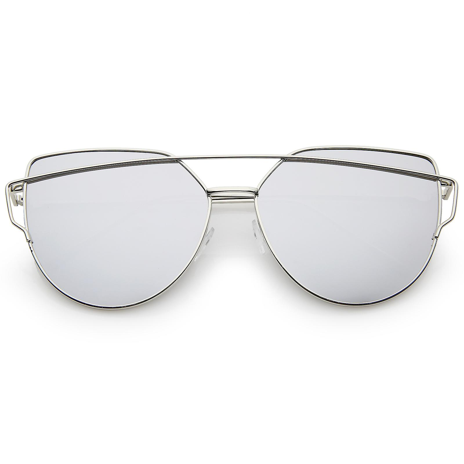 a5110bd317 Oversize Metal Frame Thin Temple Color Mirror Flat Lens Aviator Sunglasses  62mm