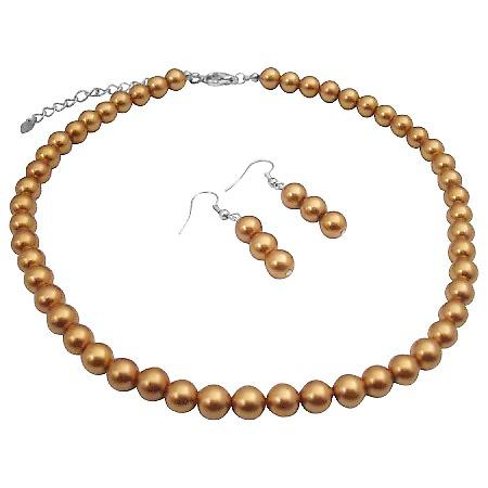 Golden Color Pearls Wedding Bridal Necklace Earrings Jewelry Set