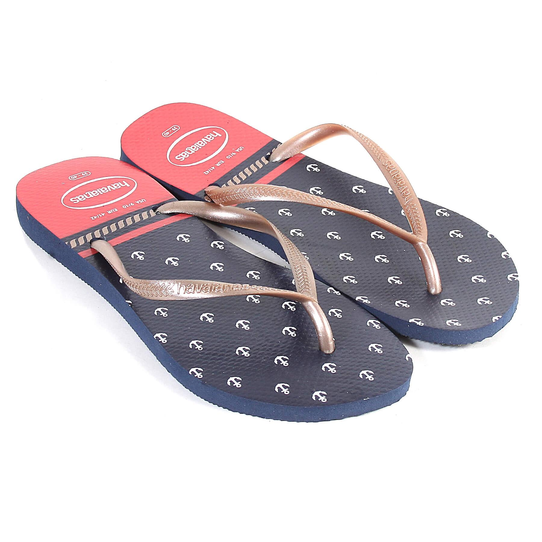 c62260c9ee2f Havaianas Women s Slim Nautical Rubber Flip Flop Navy   Red