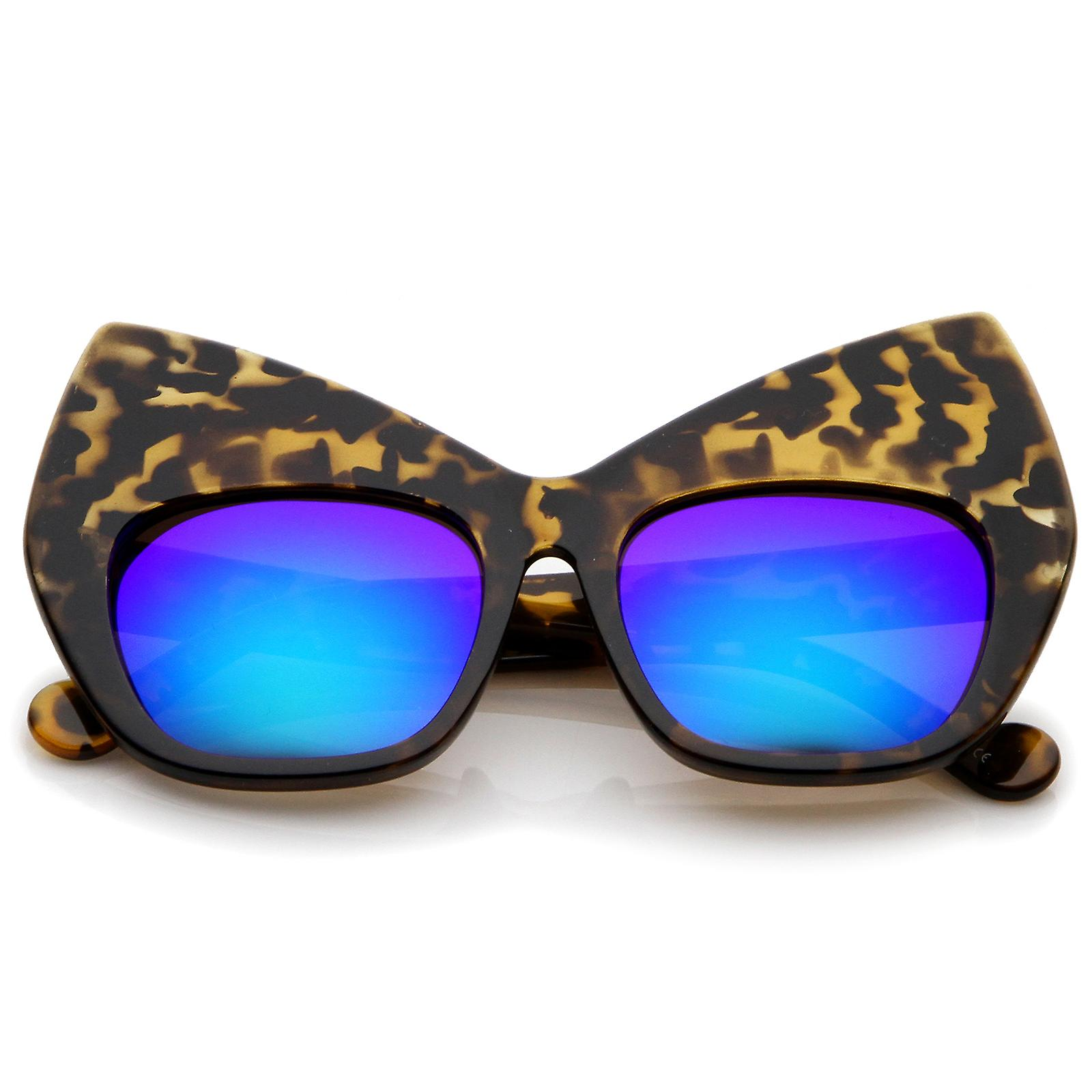 b5ffacd7d332 Chunky Frame Colored Mirror Square Lens Oversized Cat Eye Sunglasses 49mm