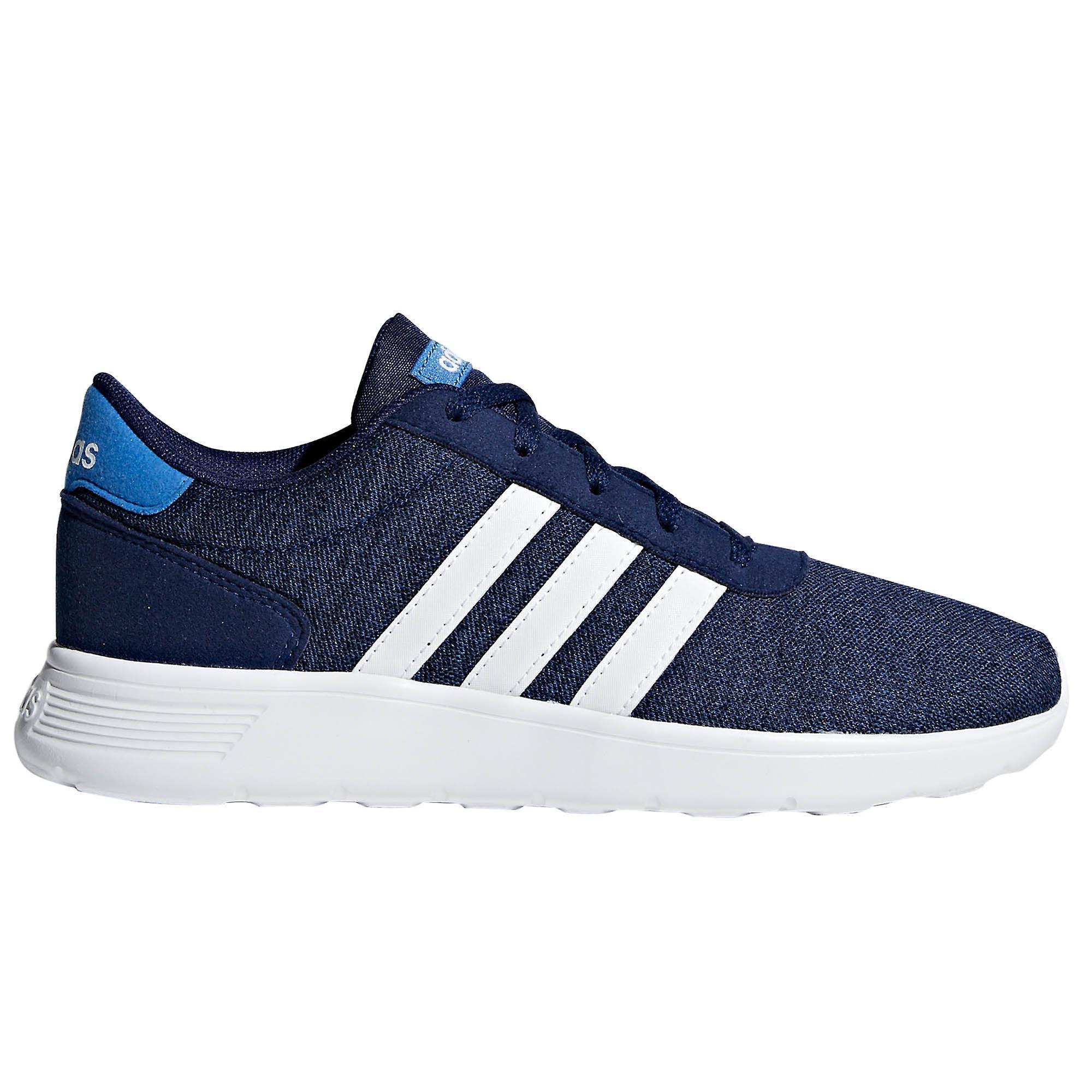 Adidas Lite Racer barna gutter blonder opp Sports trener skoen marineblå