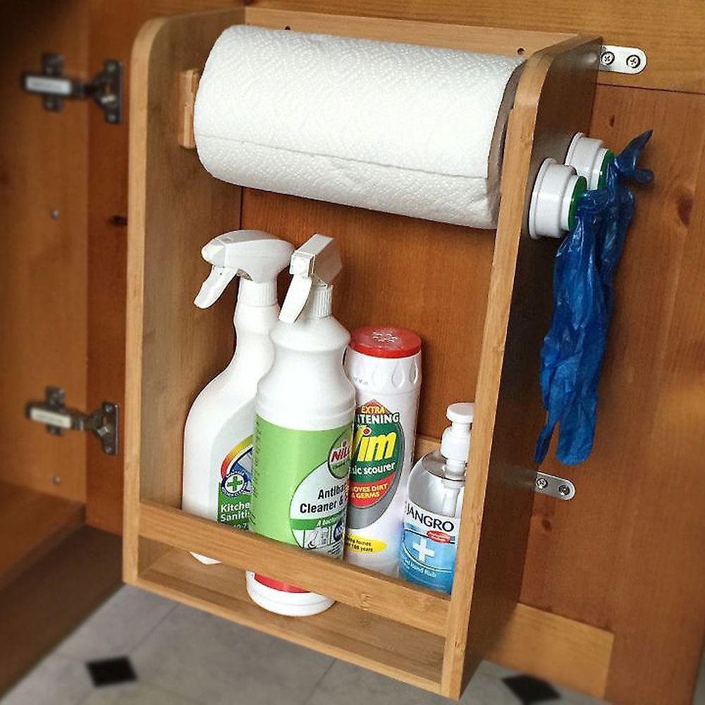Fantastic Woodquail Bamboo Kitchen Organiser Under Sink Storage Shelf Paper Towels Holder Download Free Architecture Designs Itiscsunscenecom