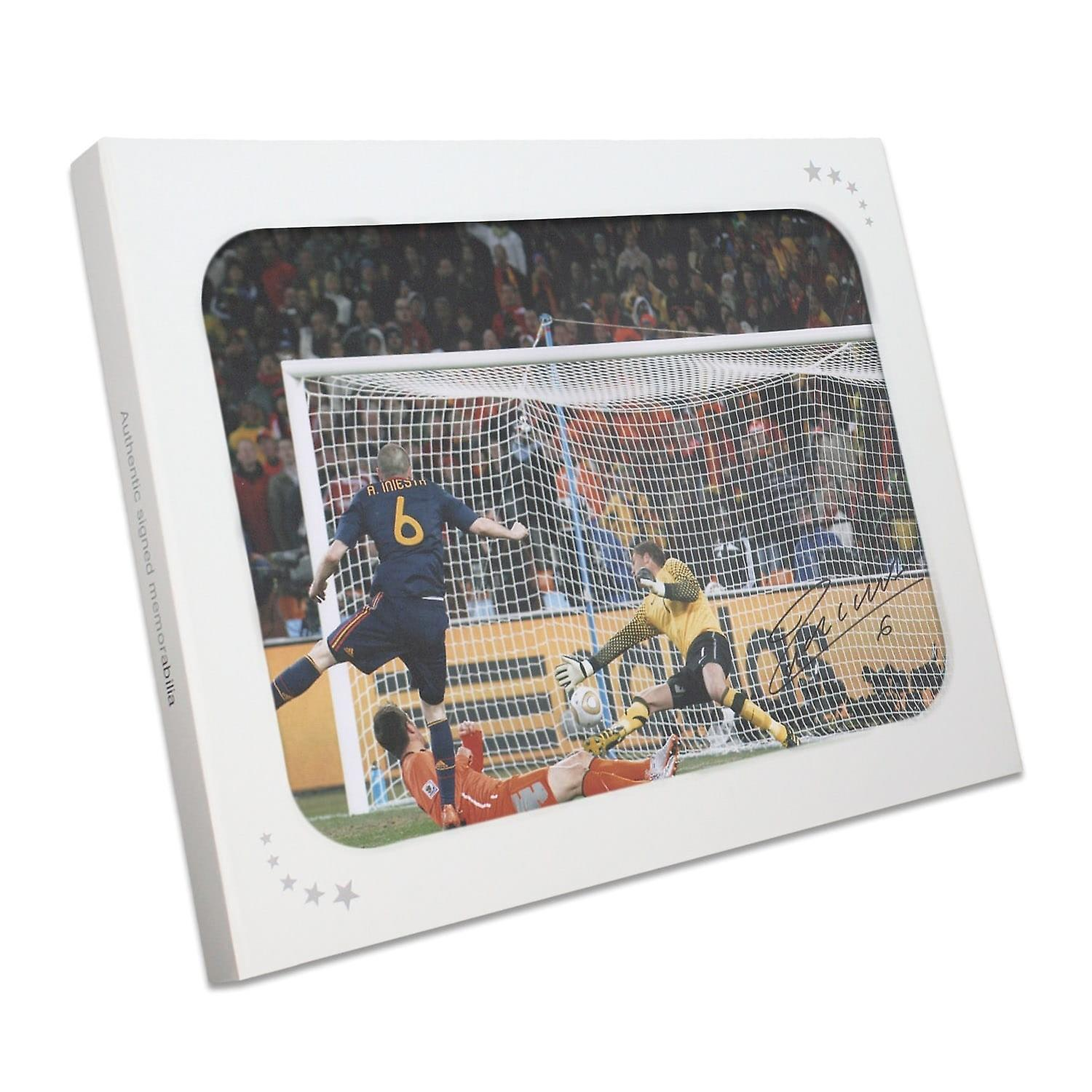 Andres Iniesta Signed Spain Photo  World Cup 2010 Winning Goal In Gift Box 37a8ee4704b6d