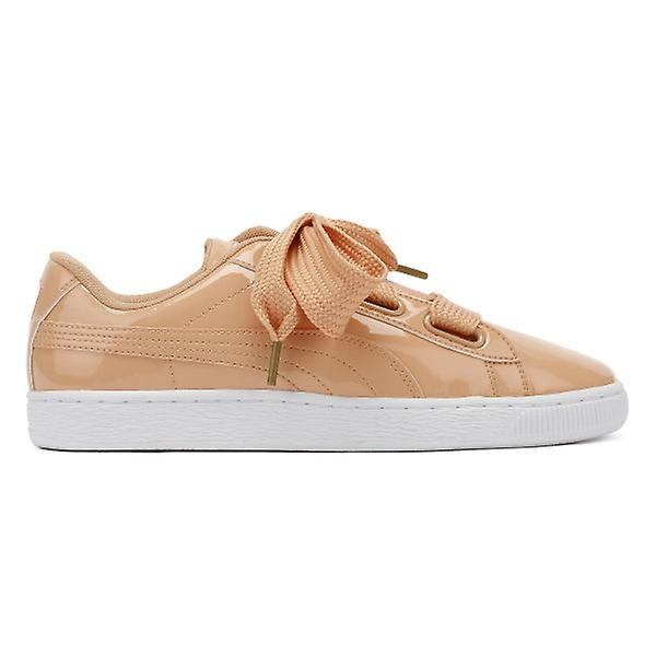 72bb7c087eb201 PUMA Womens Dusty Coral Basket Heart Patent Trainers