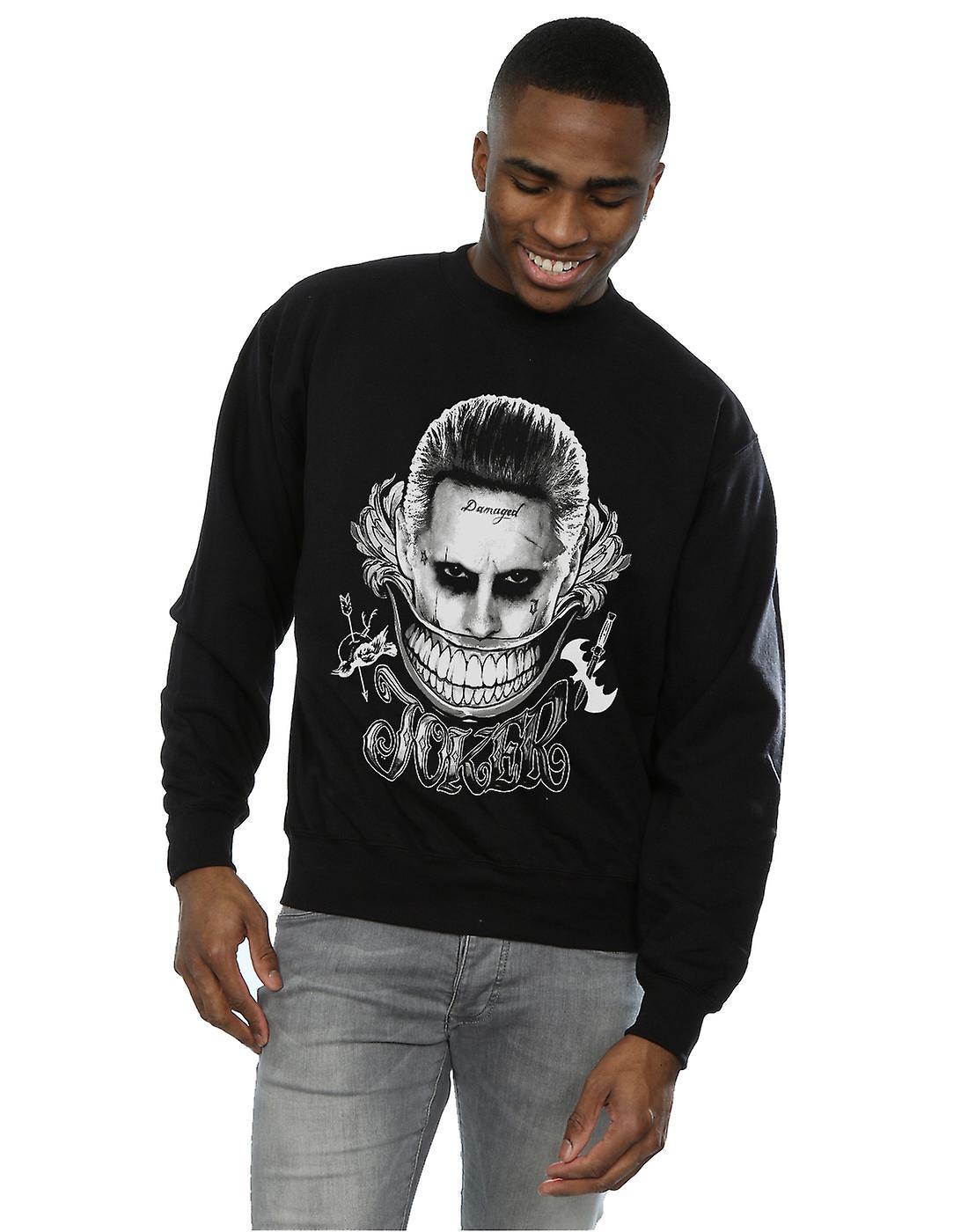 2987e391feb5 Suicide Squad Men s Joker Black And White Smile Sweatshirt
