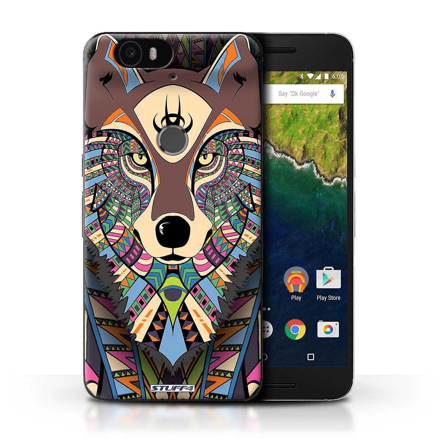 best service 99902 4bcc2 STUFF4 Case/Cover for Huawei Nexus 6P/Wolf-Colour/Aztec Animal