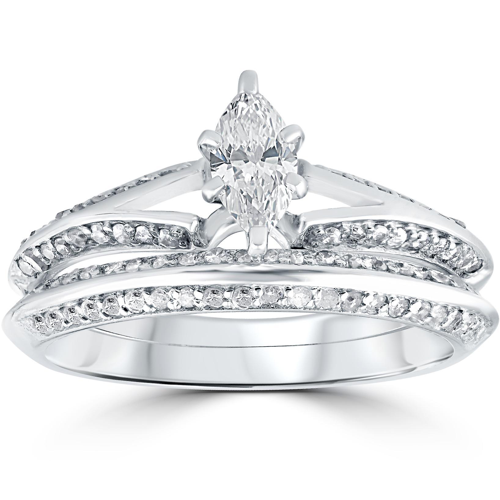 3 4 Ct Marquise Diamond Engagement Wedding Ring Set 14k White Gold